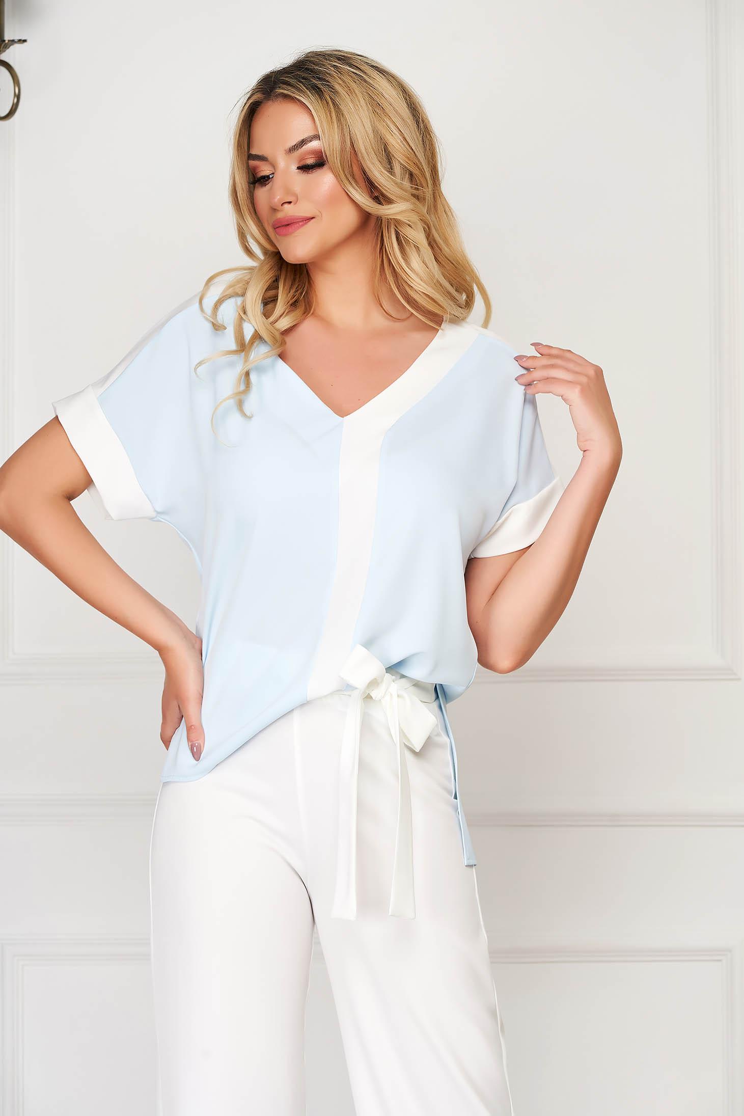 StarShinerS lightblue women`s blouse elegant flared with v-neckline short sleeves