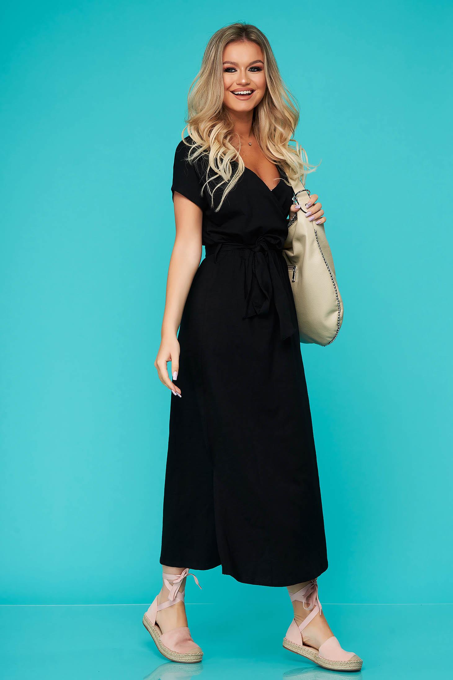 Black dress daily long thin fabric slit