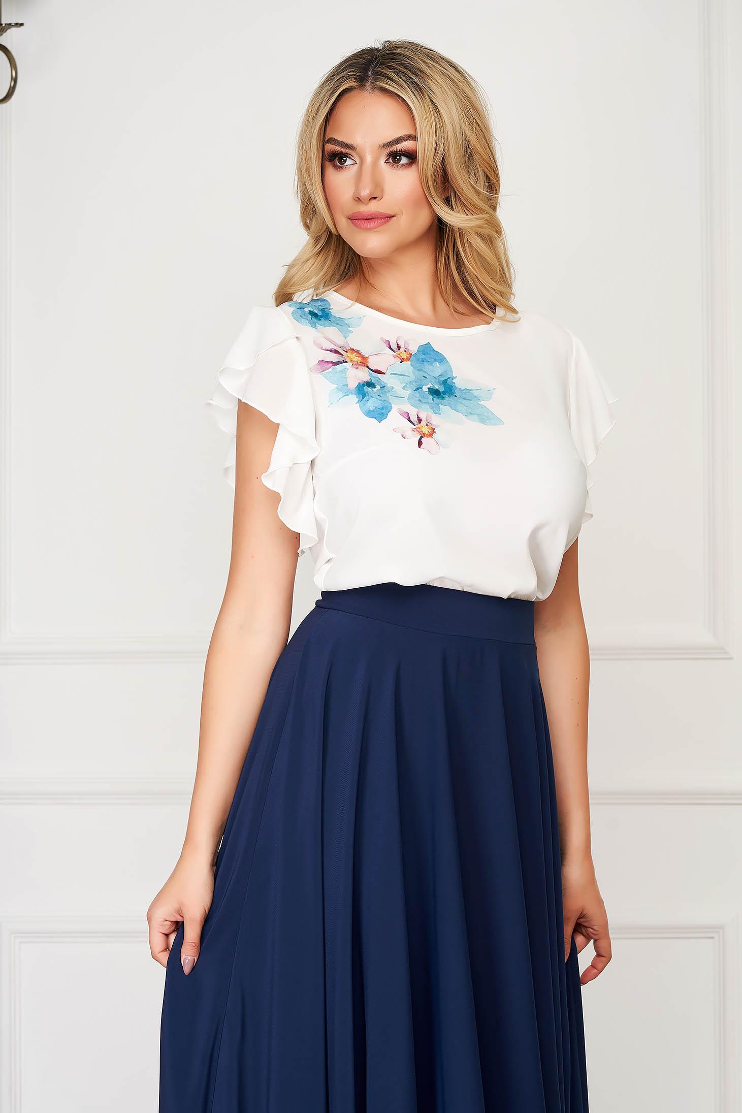 Bluza dama StarShinerS alba eleganta cu croi larg din voal cu imprimeu customizat in atelierele StarShinerS