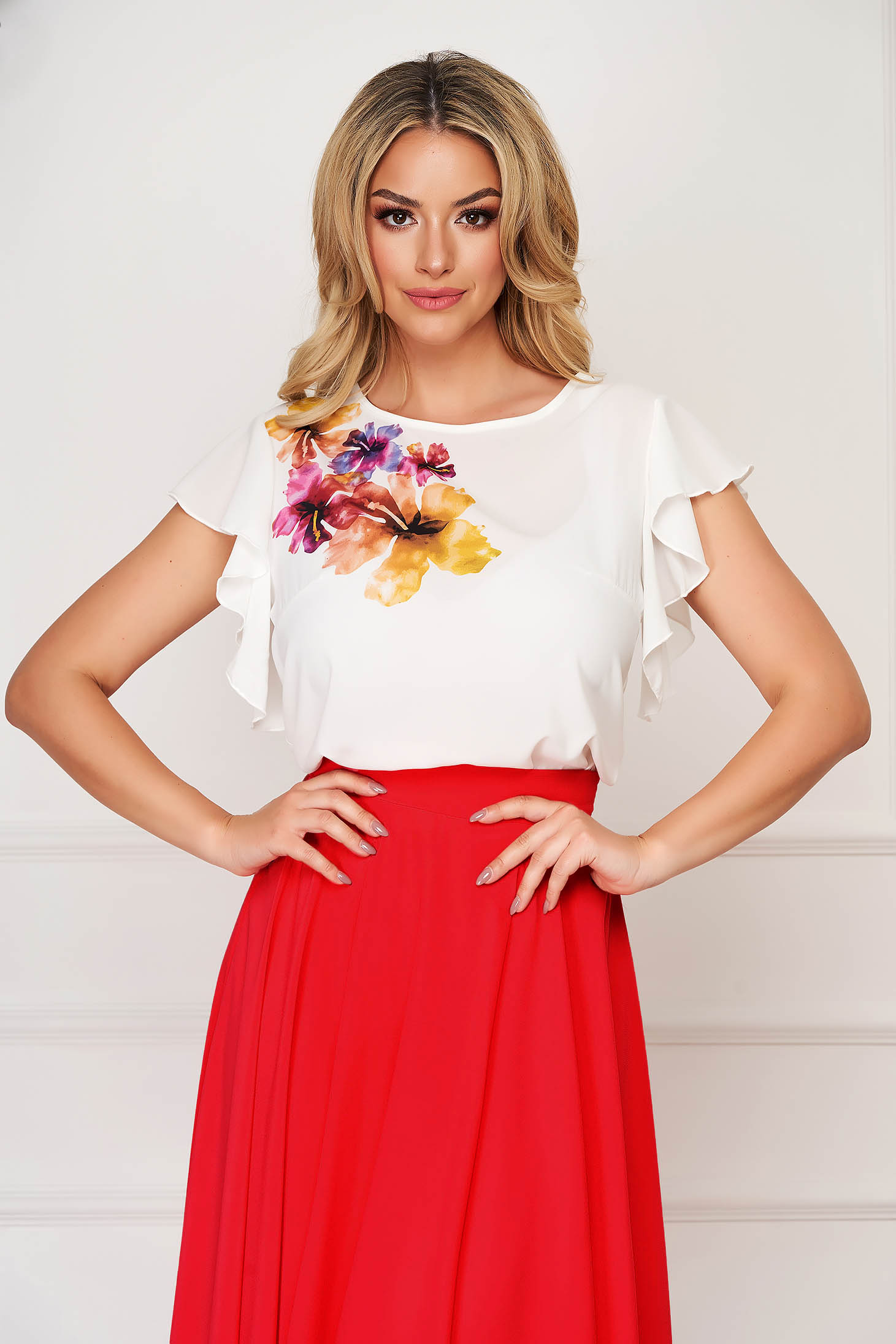Bluza dama StarShinerS corai eleganta din voal cu imprimeu unic customizat