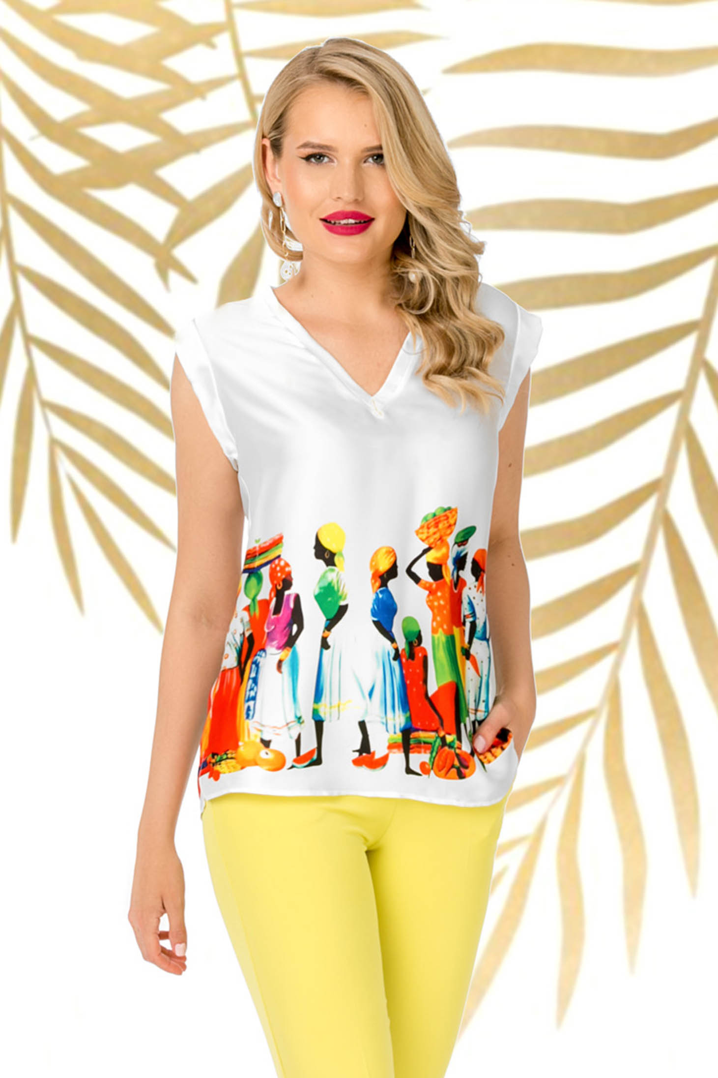 White casual flared women`s blouse from shiny fabric with v-neckline