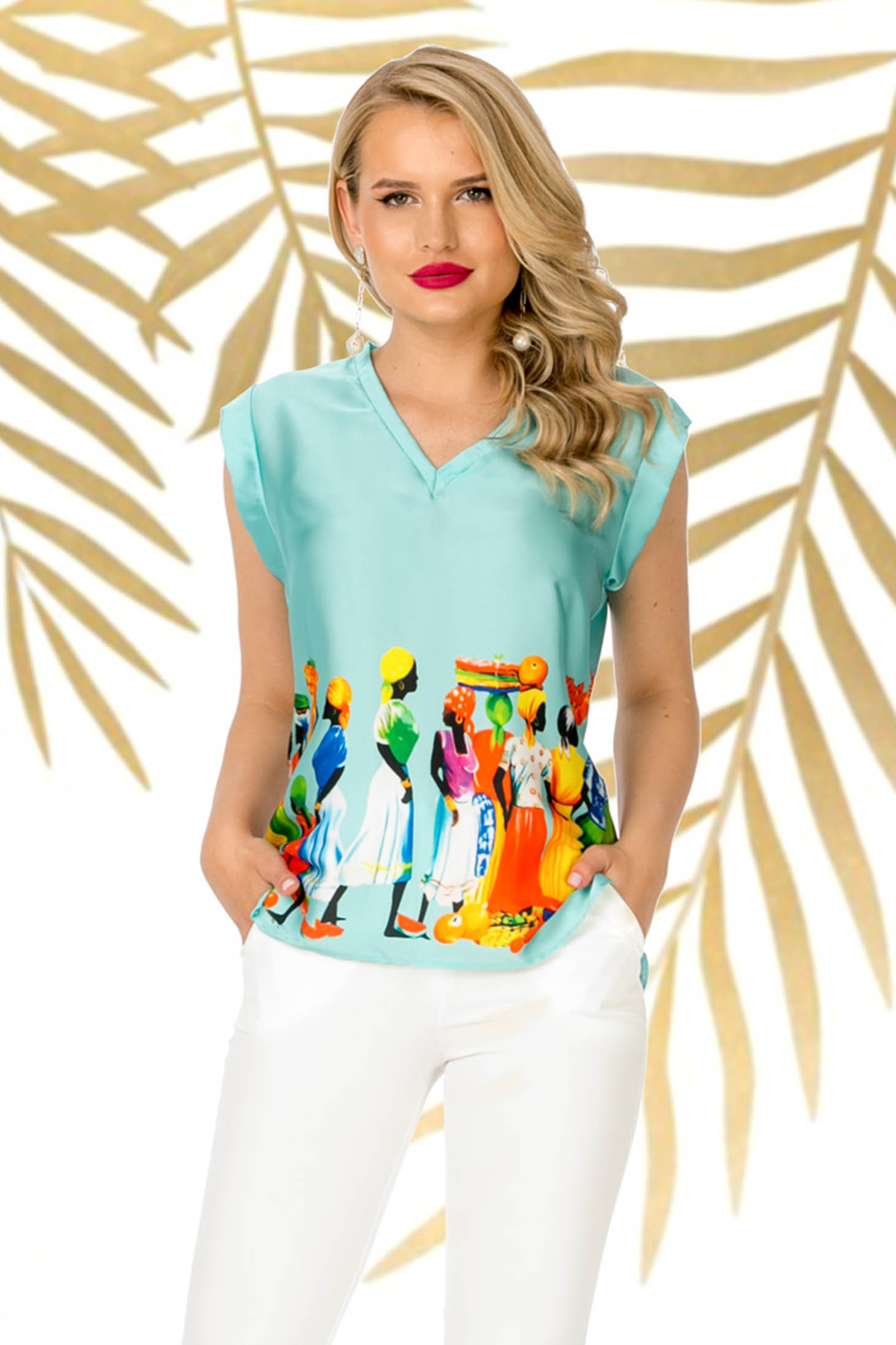 Turquoise casual flared women`s blouse from shiny fabric with v-neckline