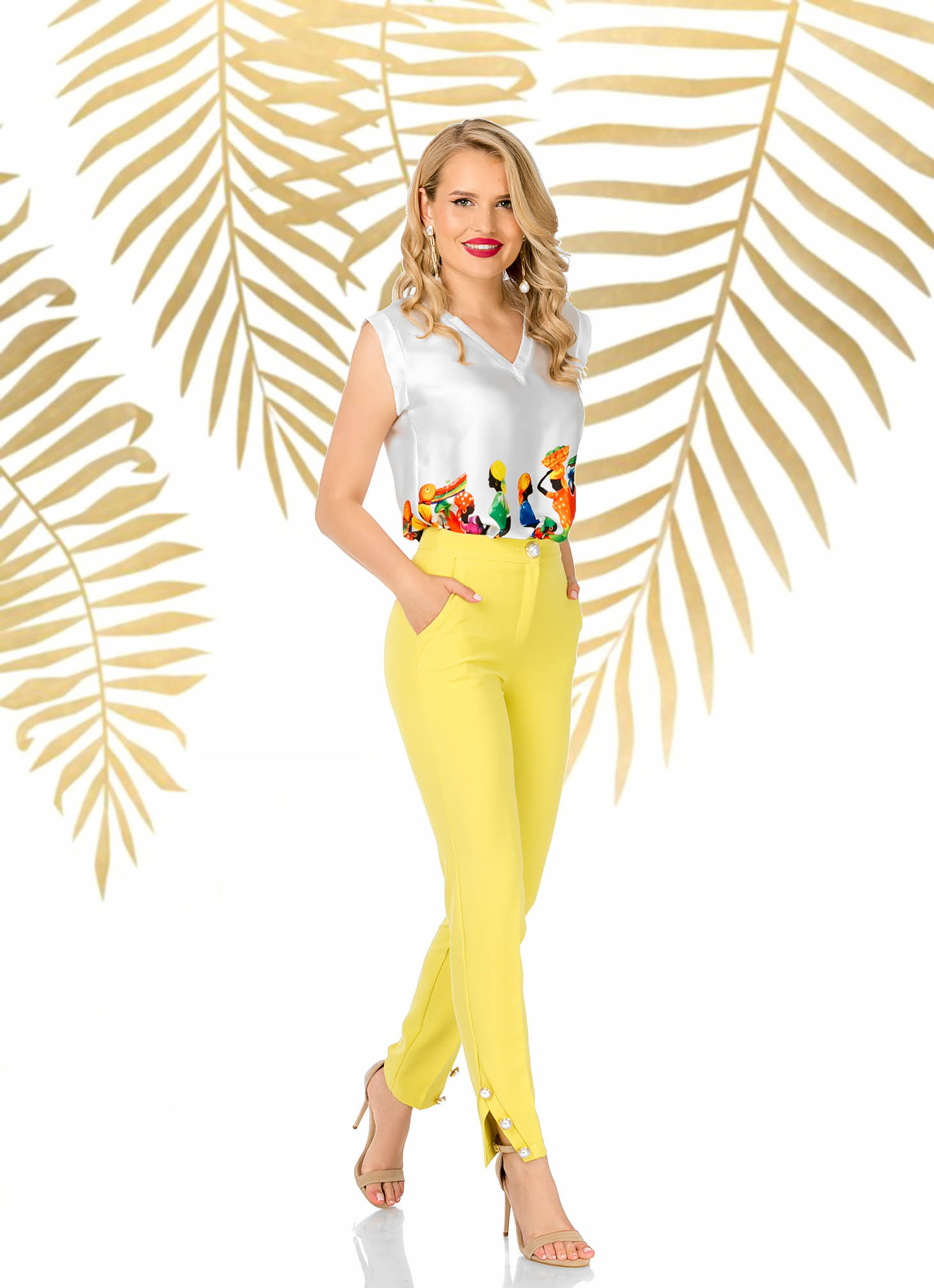 Yellow elegant conical trousers slightly elastic fabric high waisted
