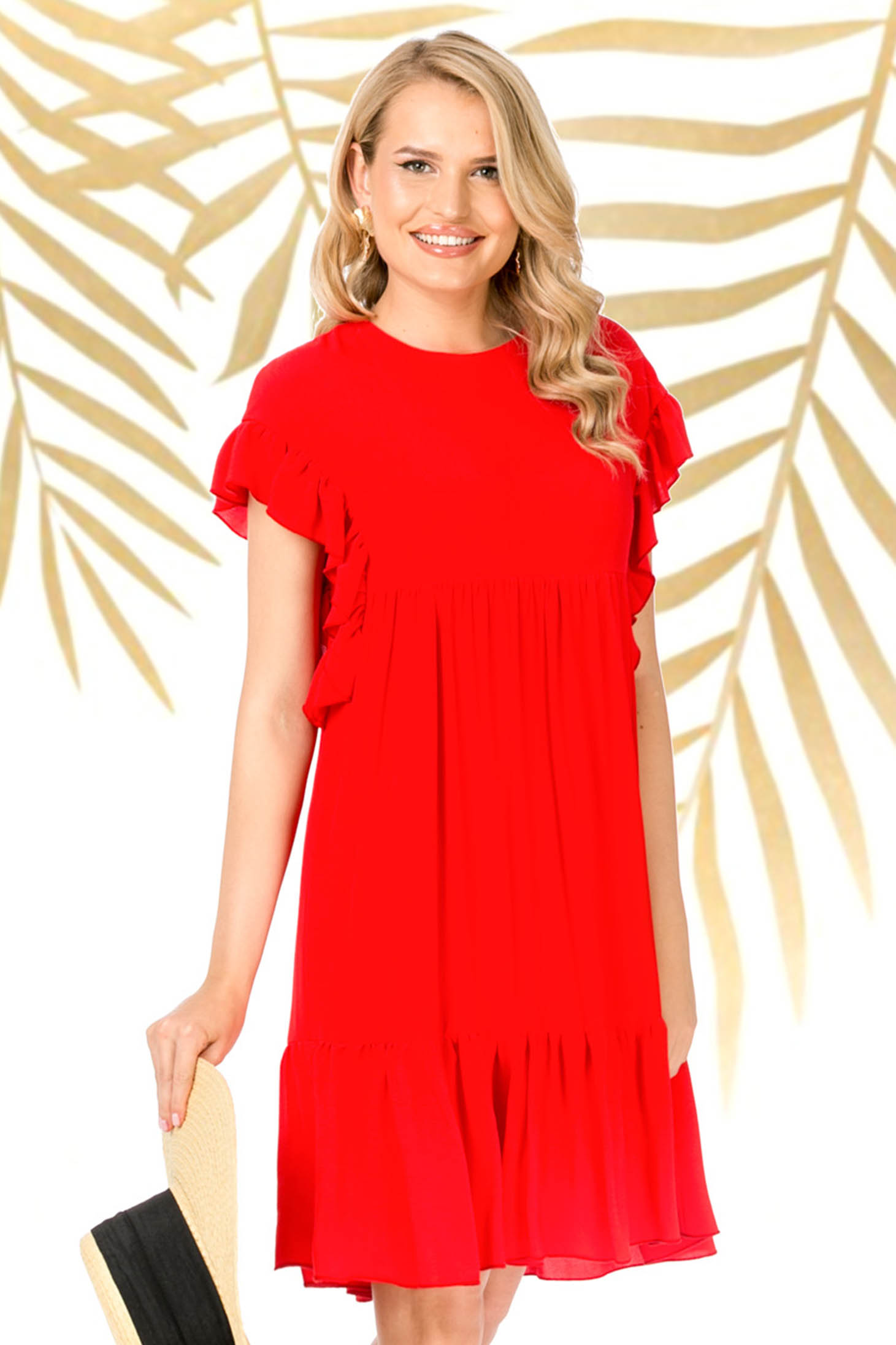 Red dress short cut daily flared thin fabric
