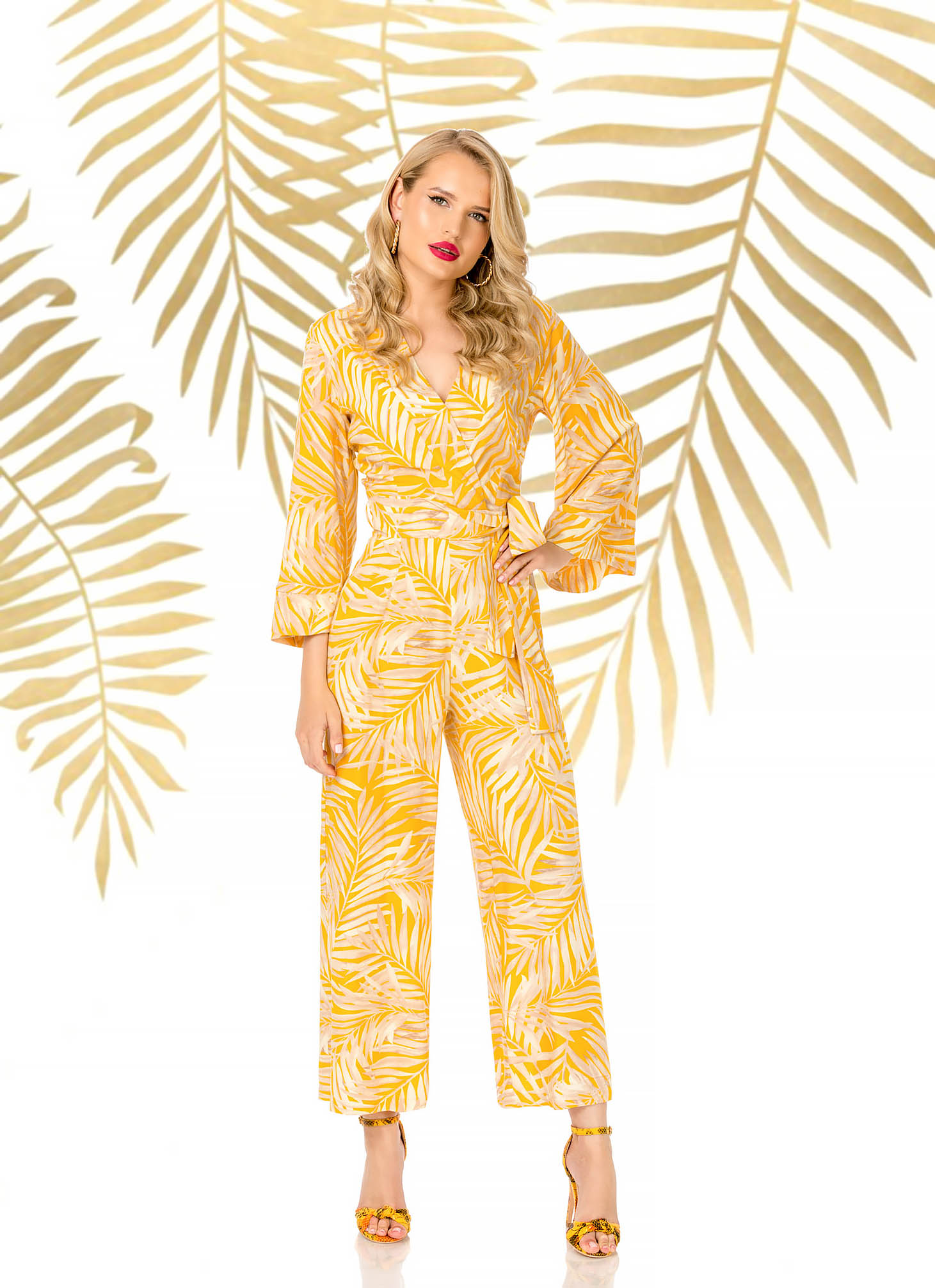 Yellow jumpsuit long flared elegant airy fabric with v-neckline