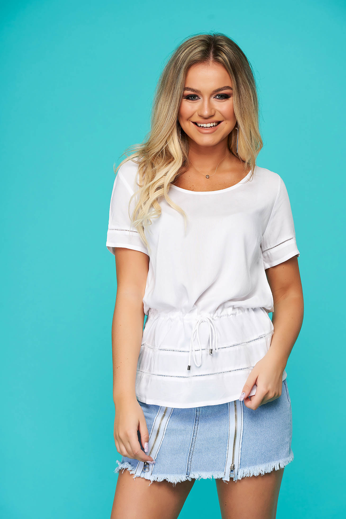 White women`s blouse casual flared short sleeve is fastened around the waist with a ribbon