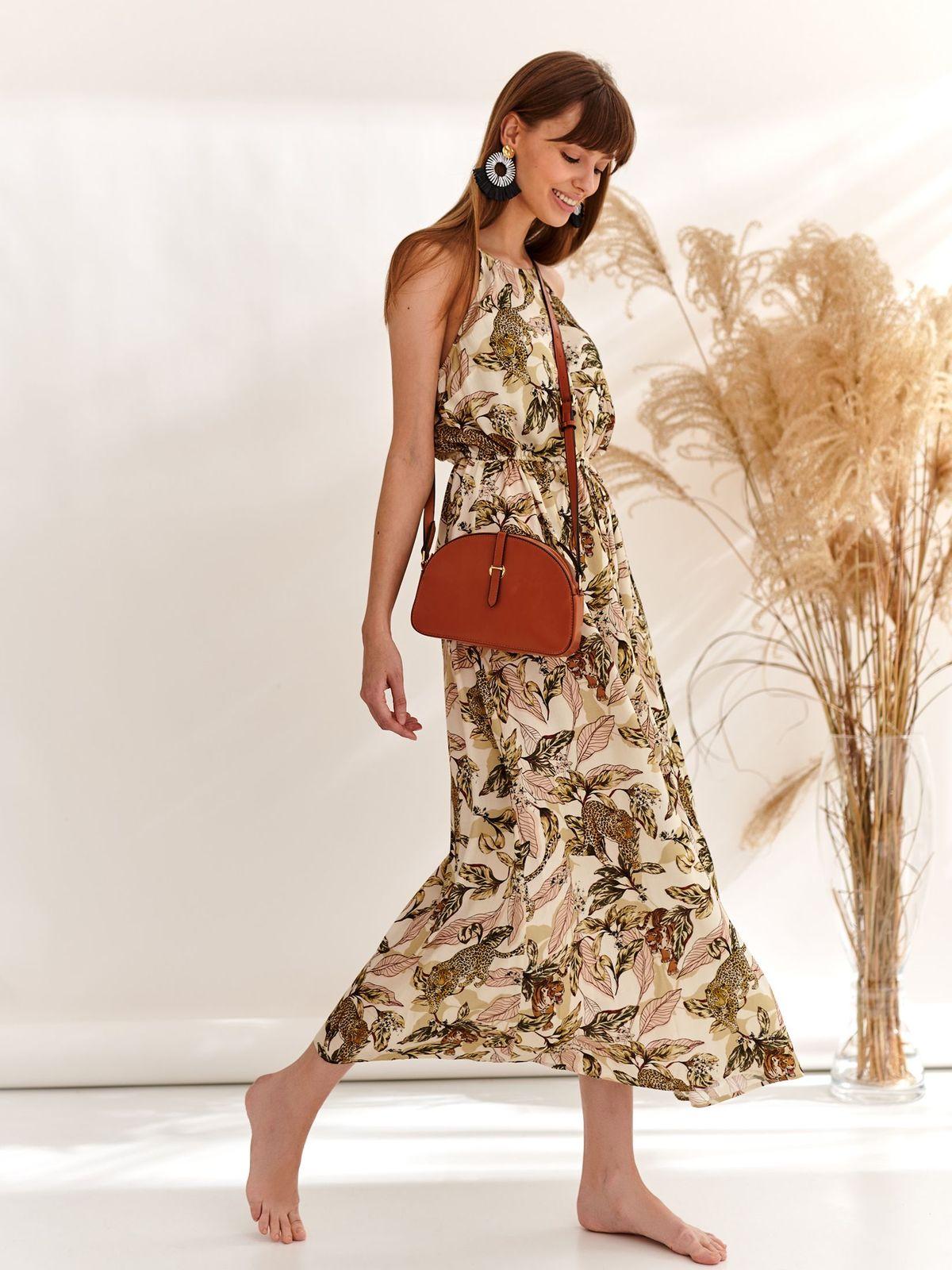Rochie Top Secret verde lunga de zi in clos fara maneci cu imprimeu floral