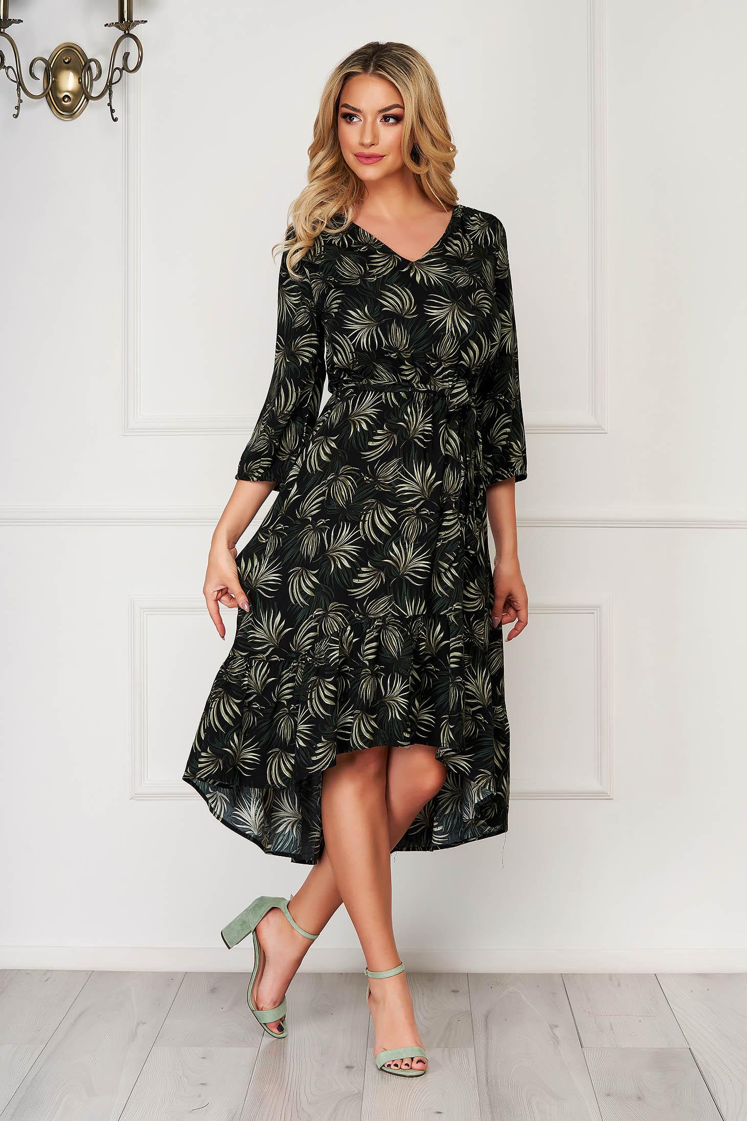 Black dress midi daily asymmetrical cloche airy fabric