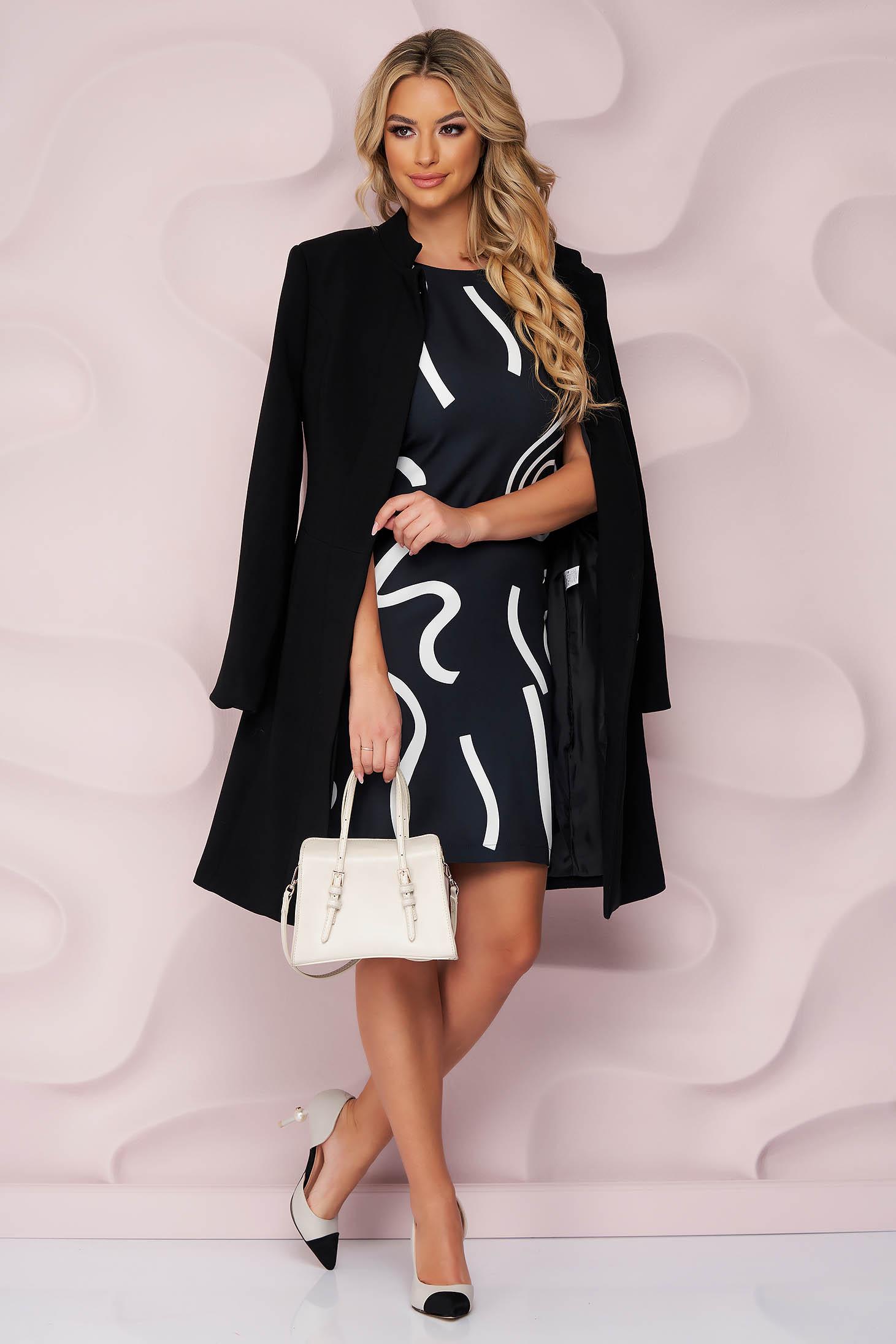 Fekete midi hétköznapi pamutból készült elegáns ruha rövid ujjakkal