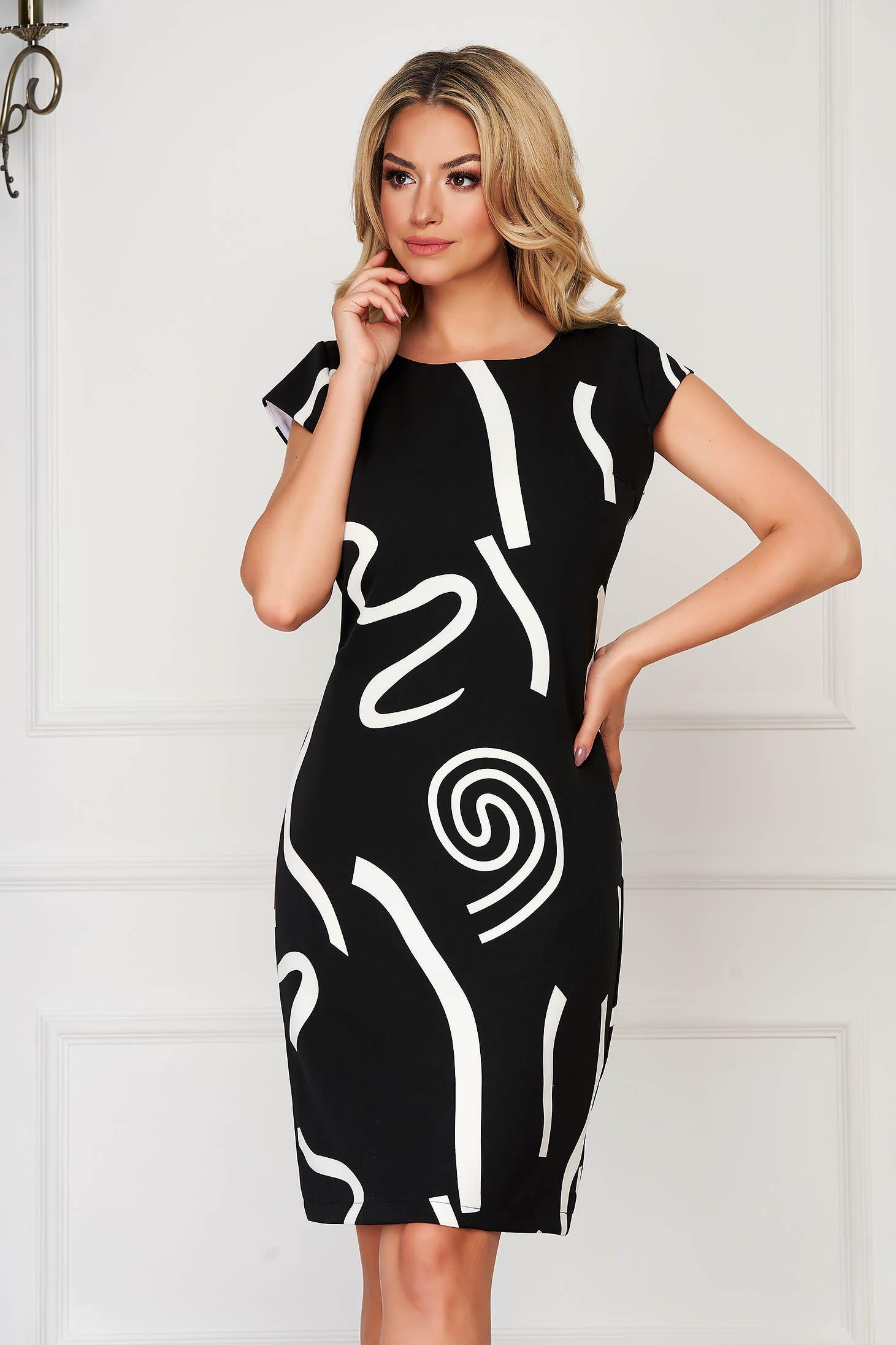 Rochie neagra eleganta midi de zi din material subtire cu maneci scurte