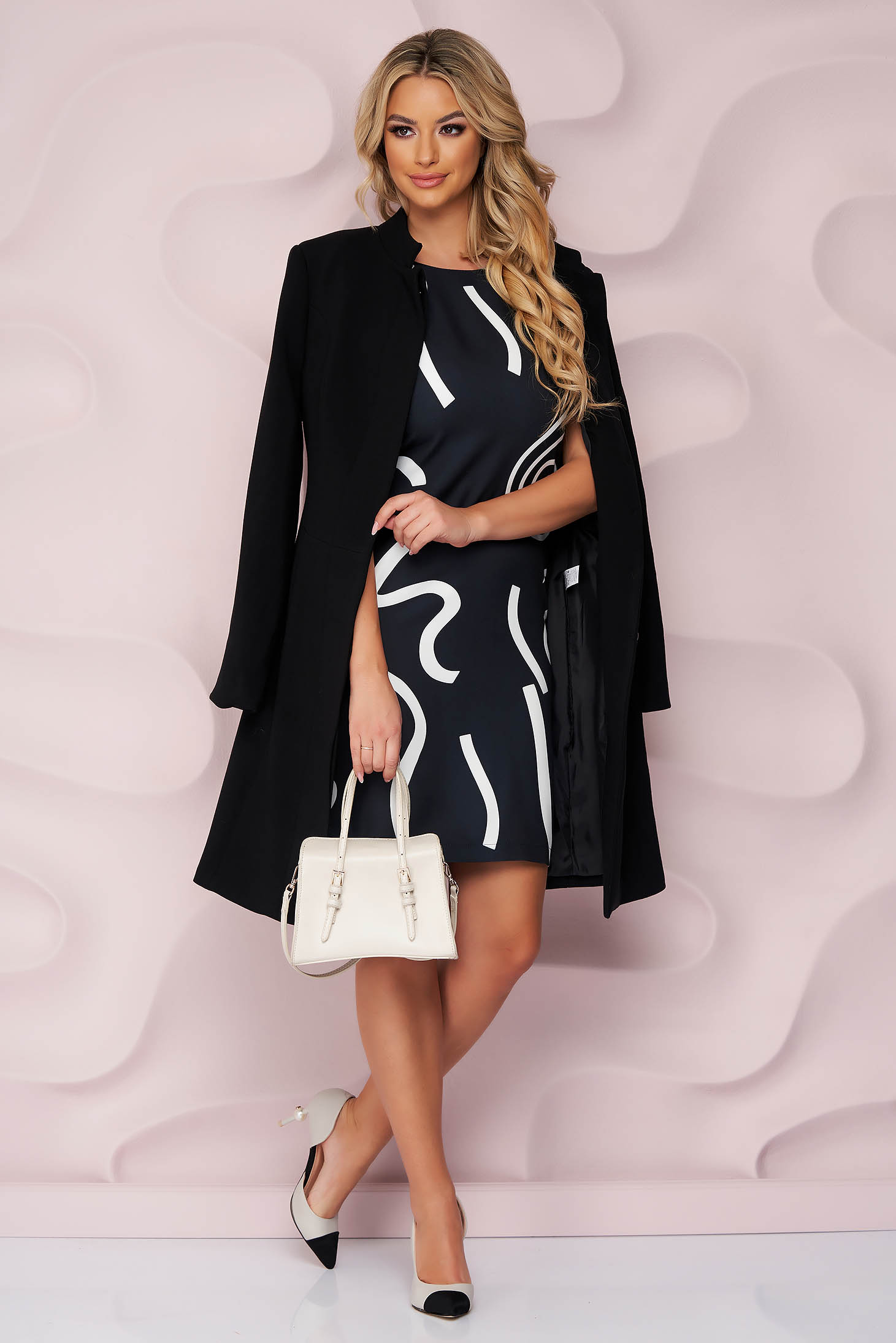 StarShinerS black dress midi elegant short sleeves slightly elastic fabric pencil