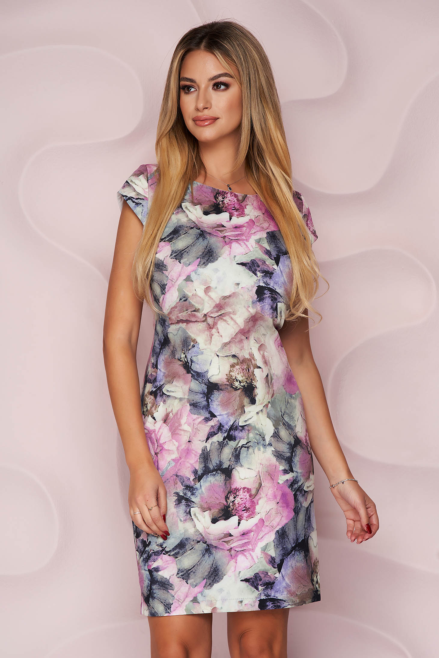 StarShinerS dress midi pencil cotton slightly elastic fabric office with floral print