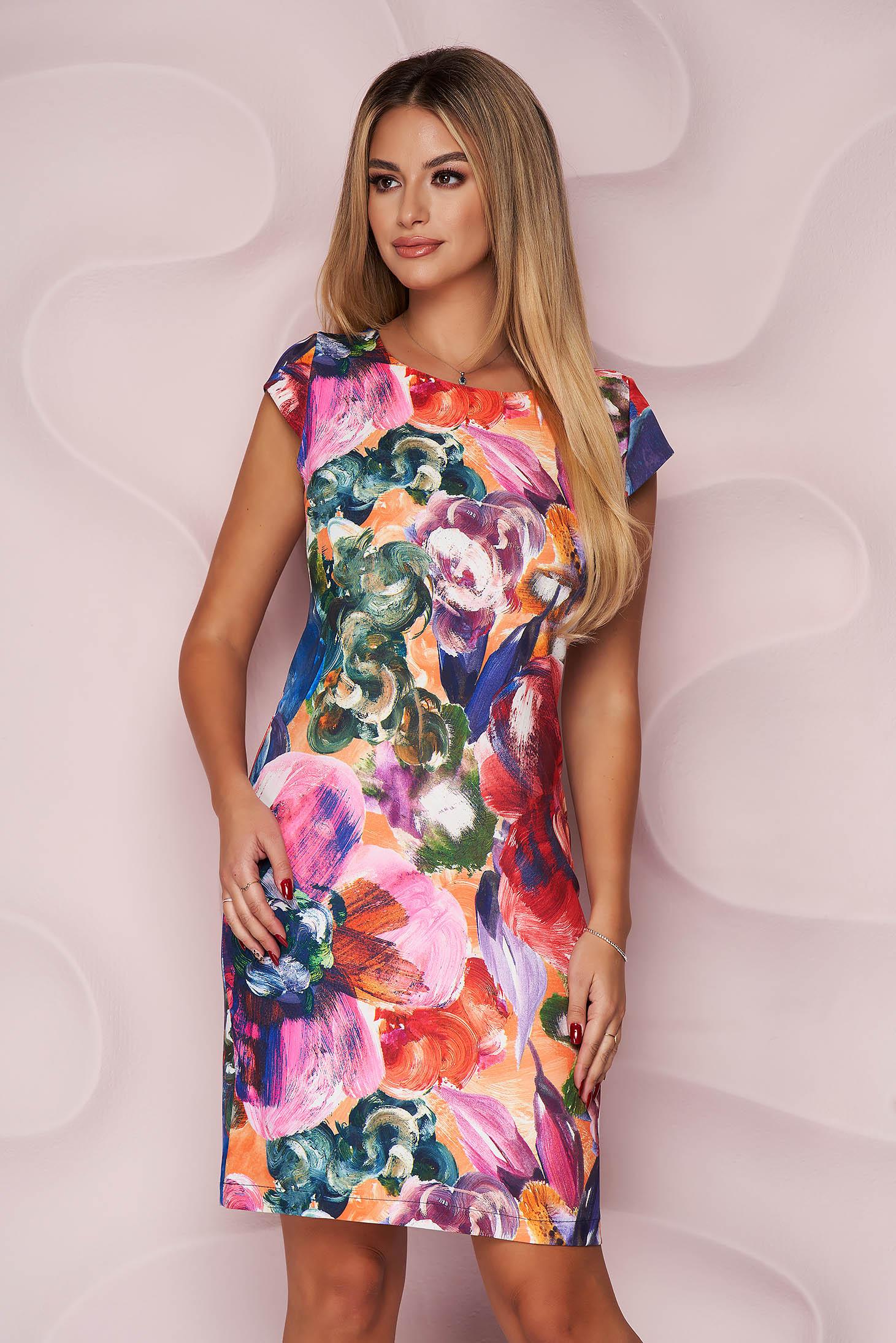 StarShinerS pink dress elegant midi pencil cotton short sleeves
