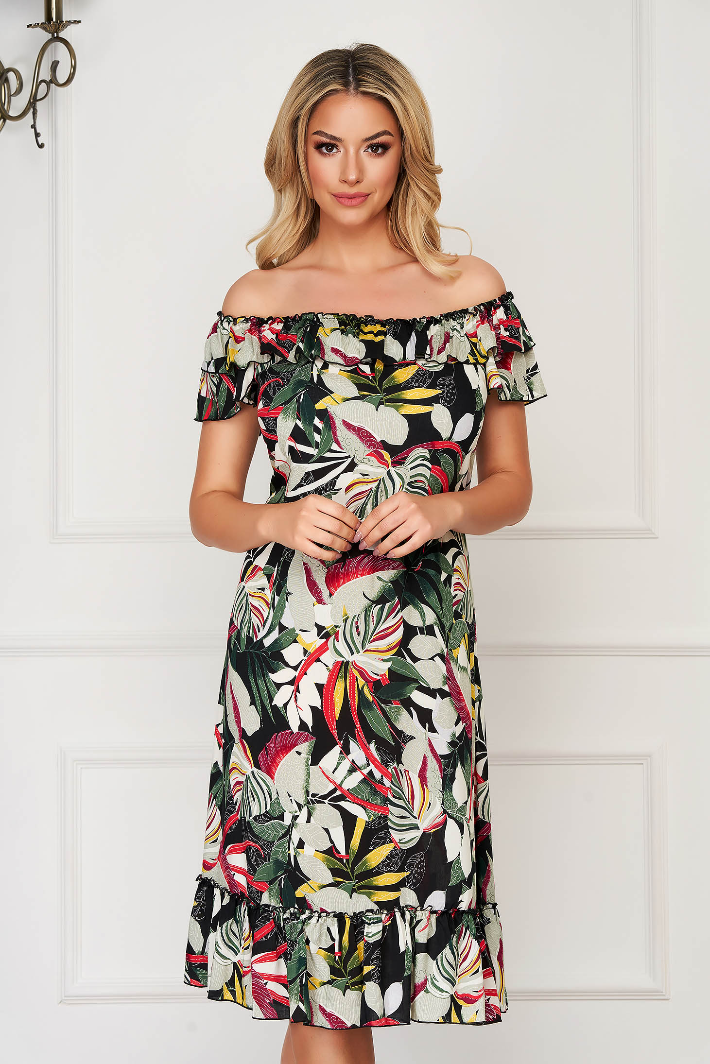 StarShinerS black dress midi daily flared off-shoulder thin fabric