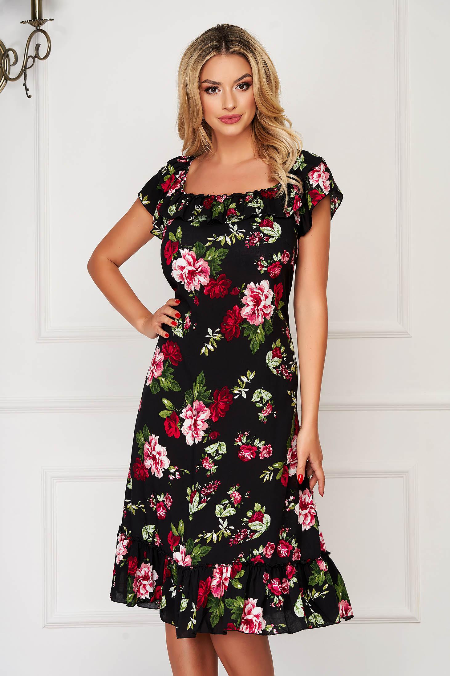 StarShinerS black dress midi daily flared thin fabric off-shoulder