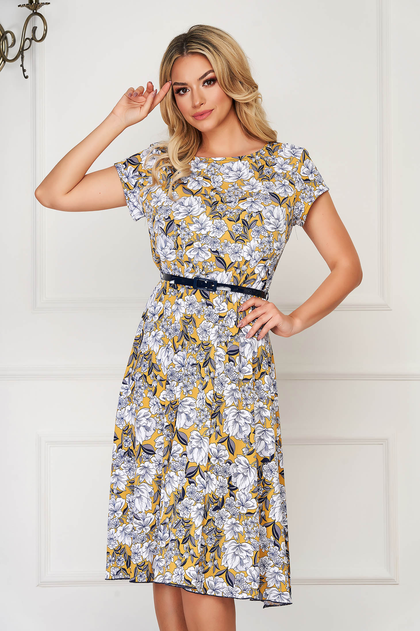 StarShinerS mustard dress midi daily lycra cloche with floral prints