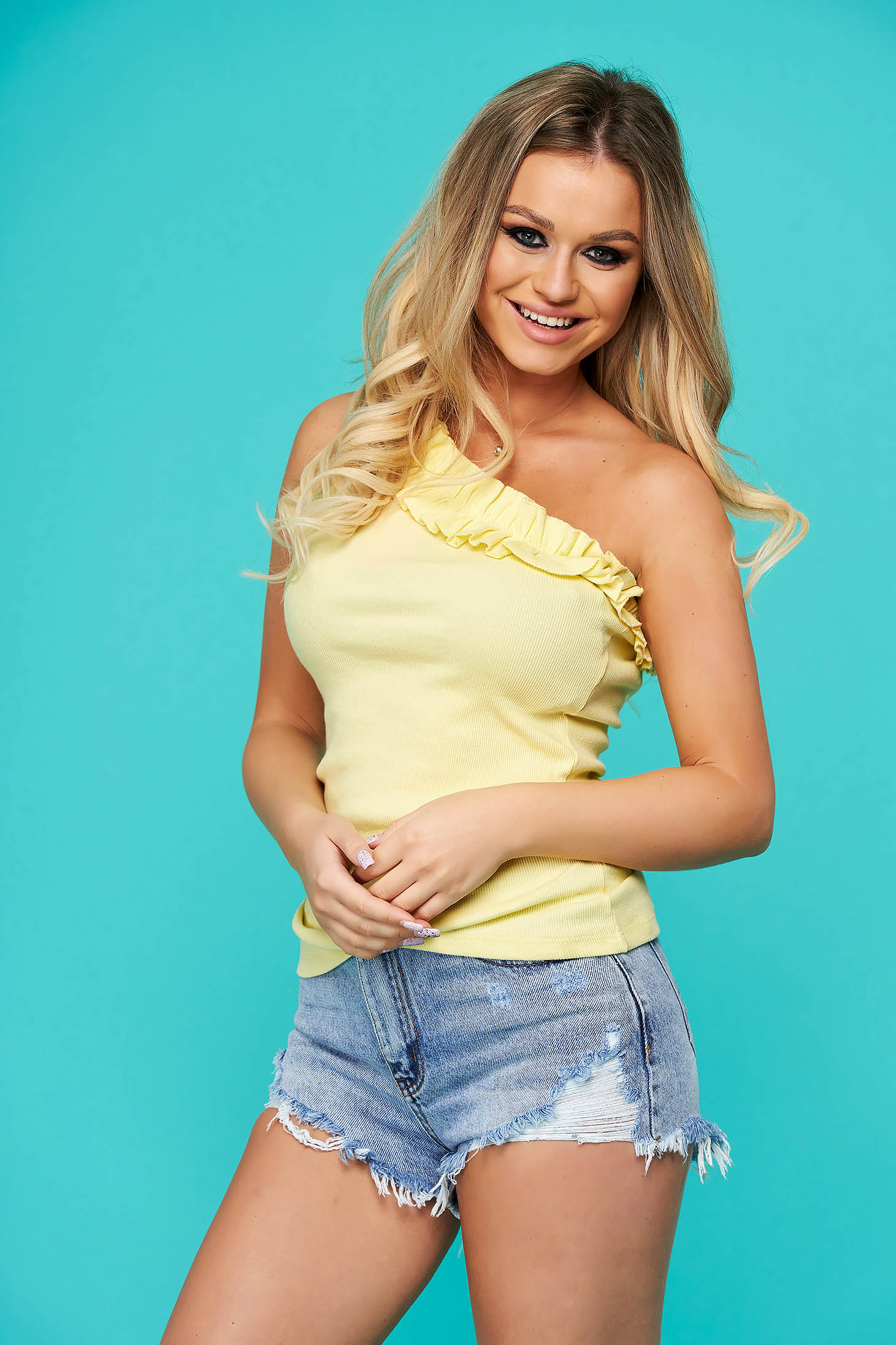 Yellow top shirt casual tented slightly elastic cotton
