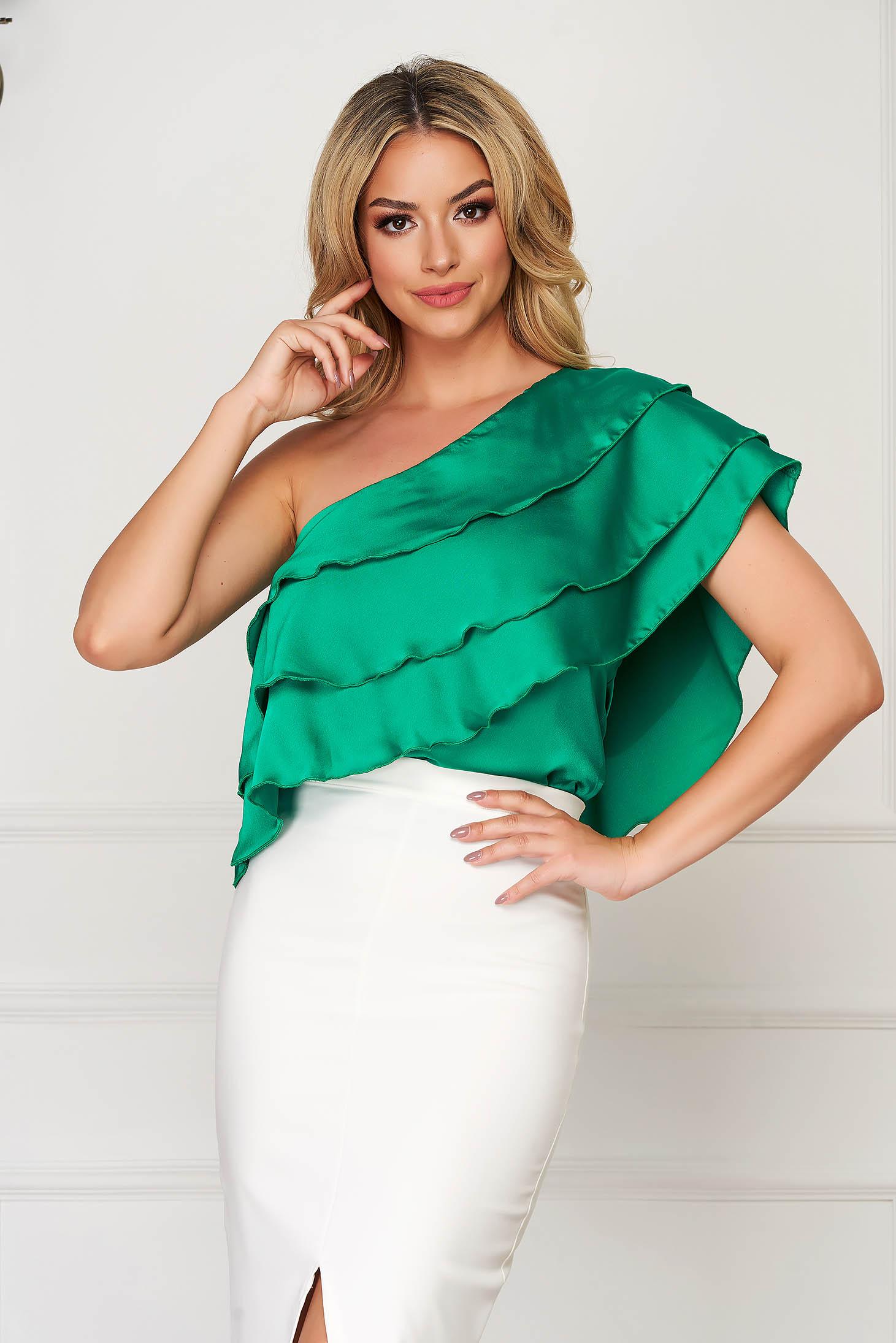Top SunShine verde elegant scurt din material satinat cu croi larg si volanase