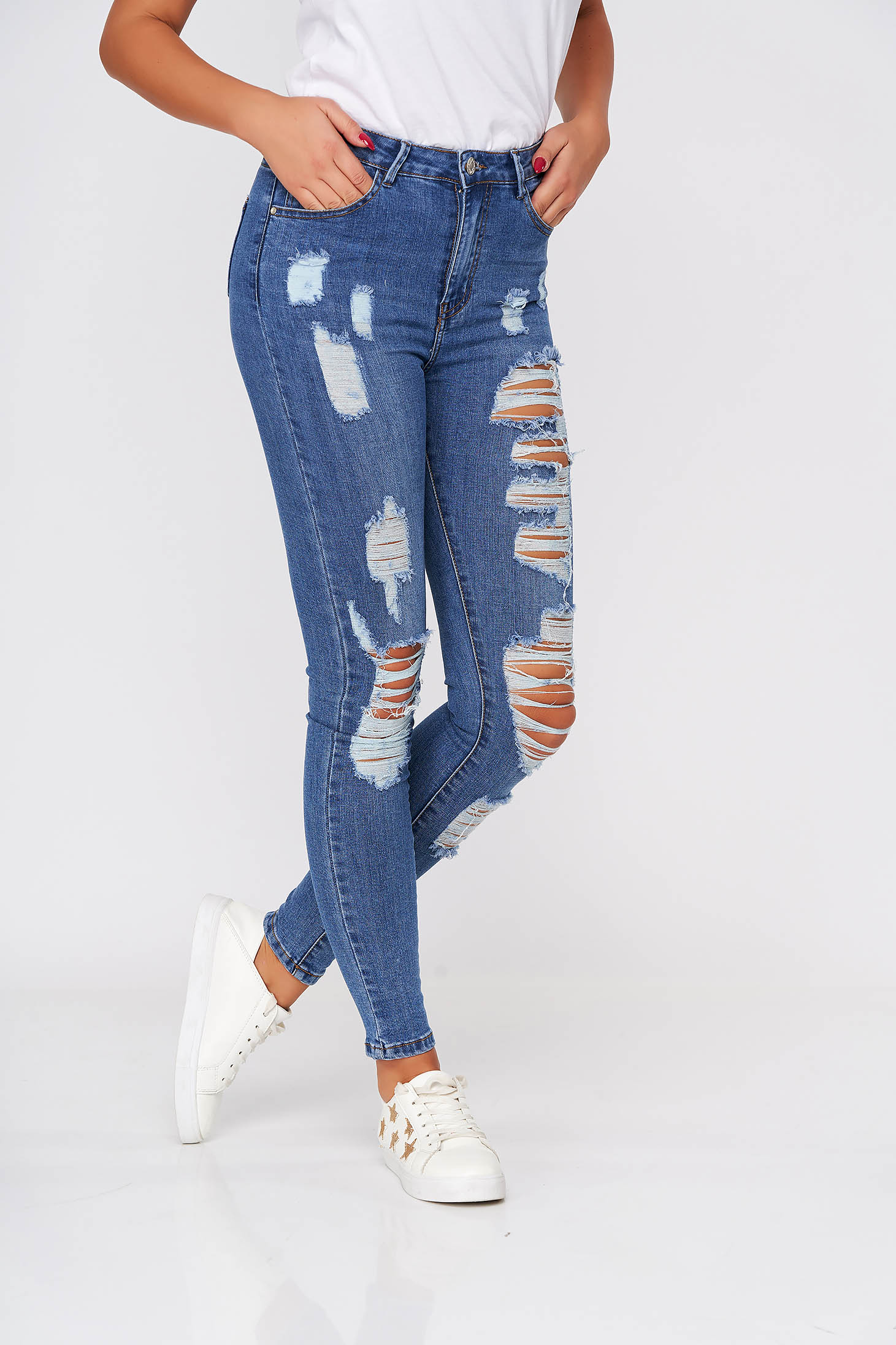 Blue jeans casual skinny jeans high waisted elastic cotton