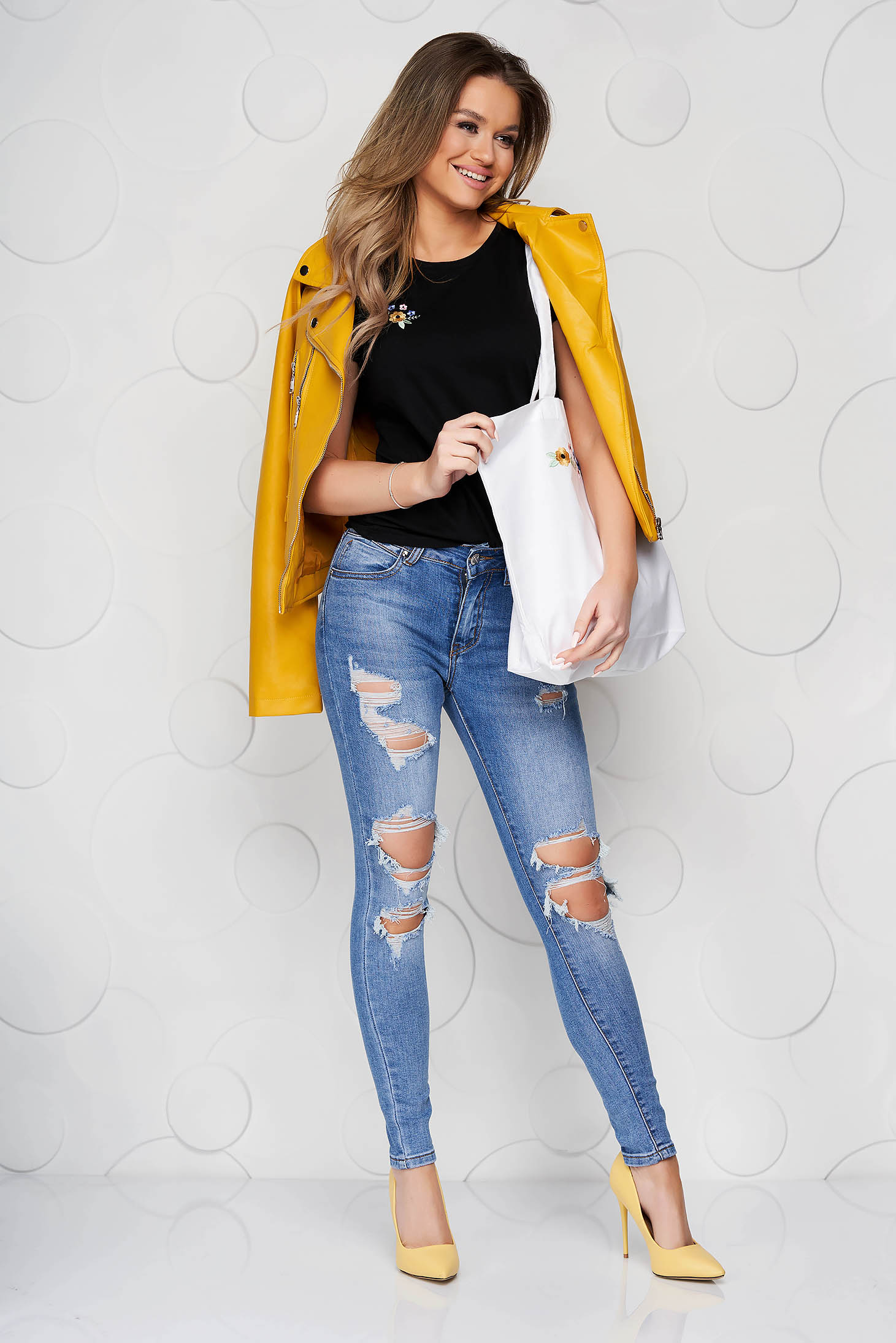 Blue jeans casual skinny jeans high waisted with ruptures