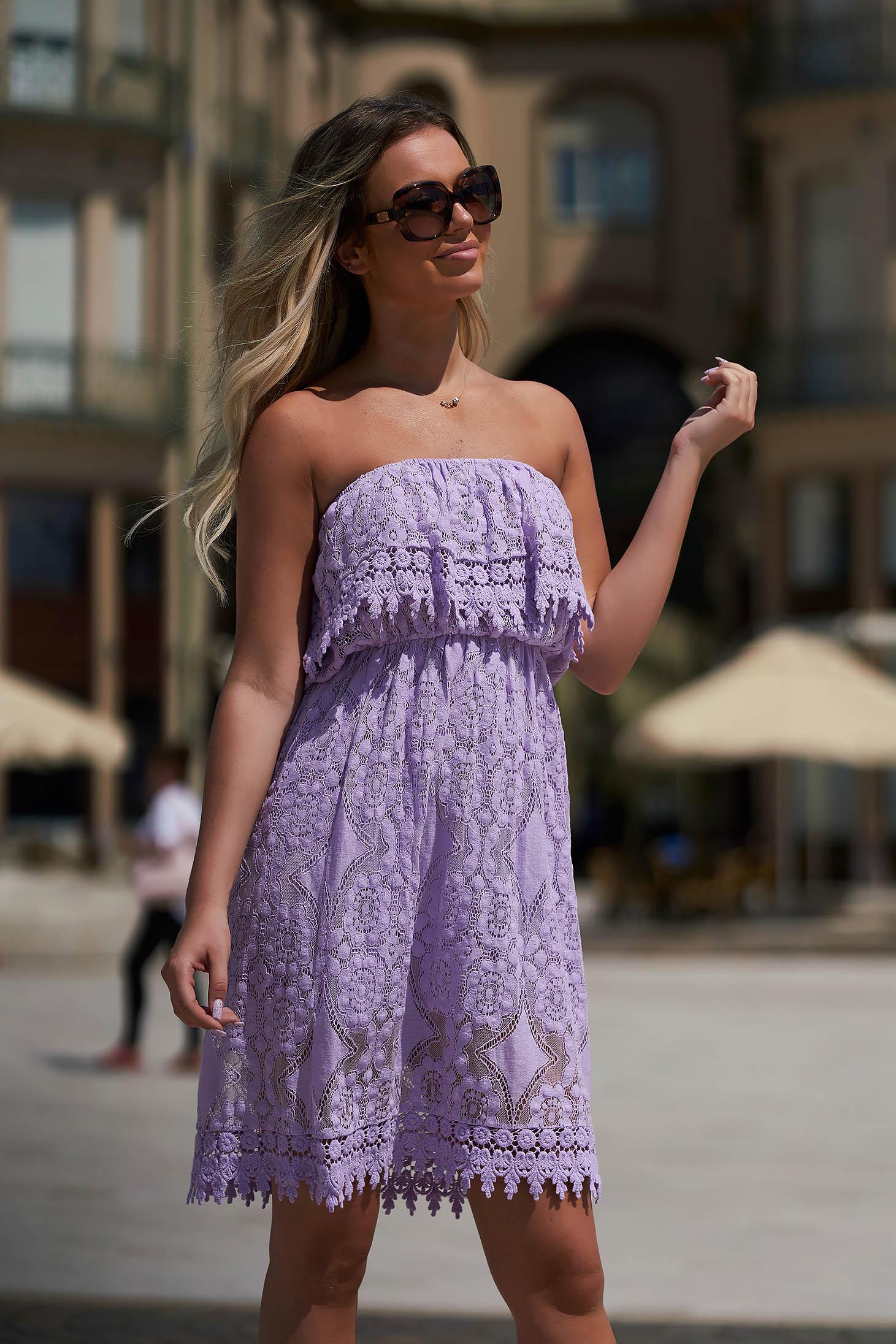 Lila dress daily short cut straight off-shoulder cotton