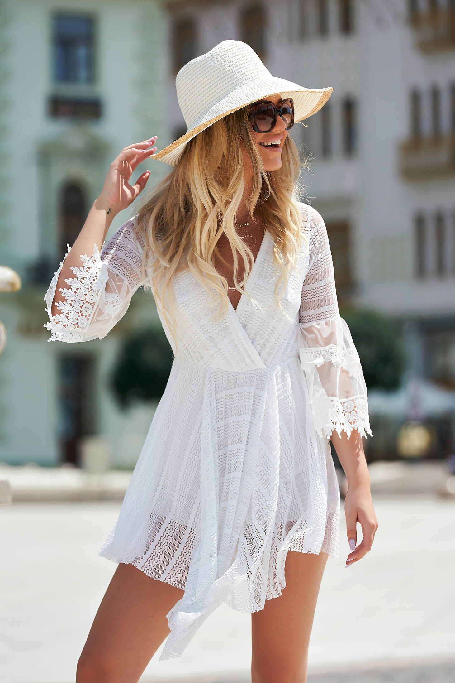 White dress daily asymmetrical cloche with elastic waist laced