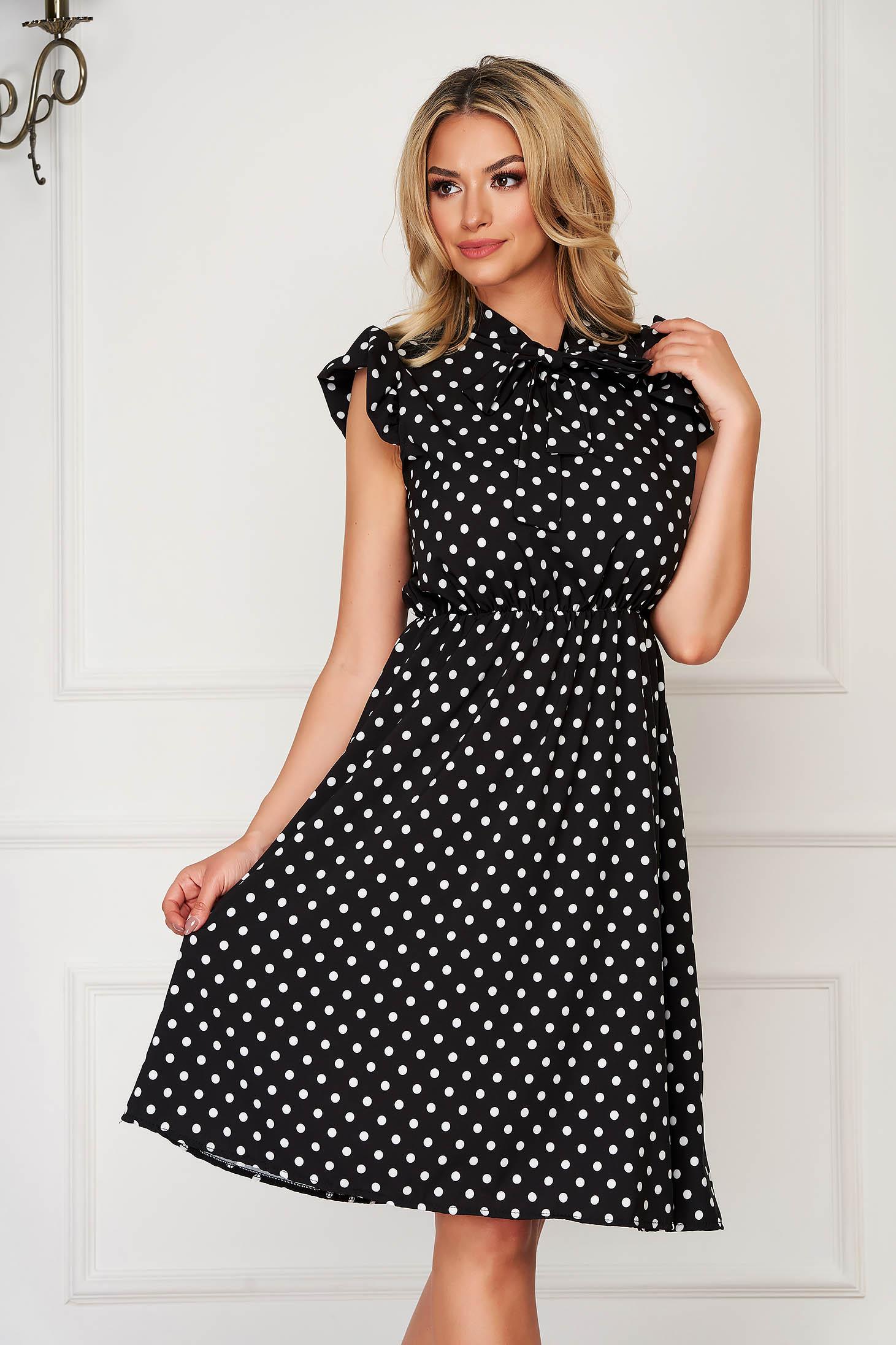 Black dress short cut daily cloche dots print