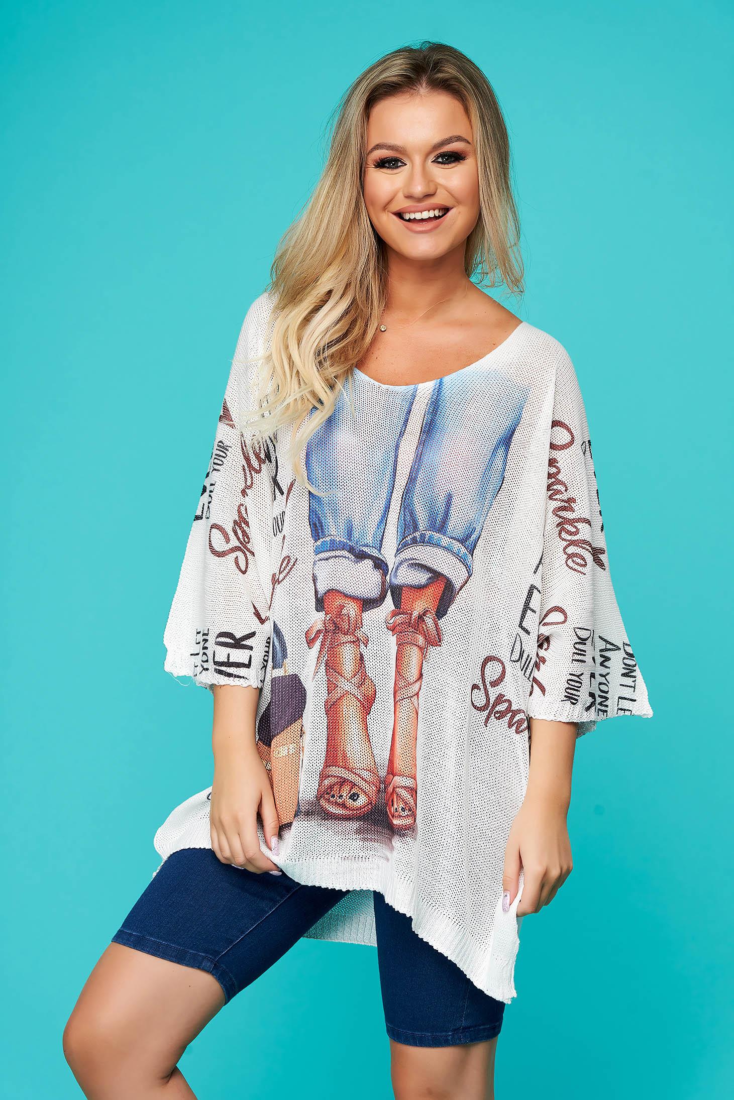 Bluza dama SunShine albastra-deschis casual lunga cu croi larg cu decolteu in v din material tricotat