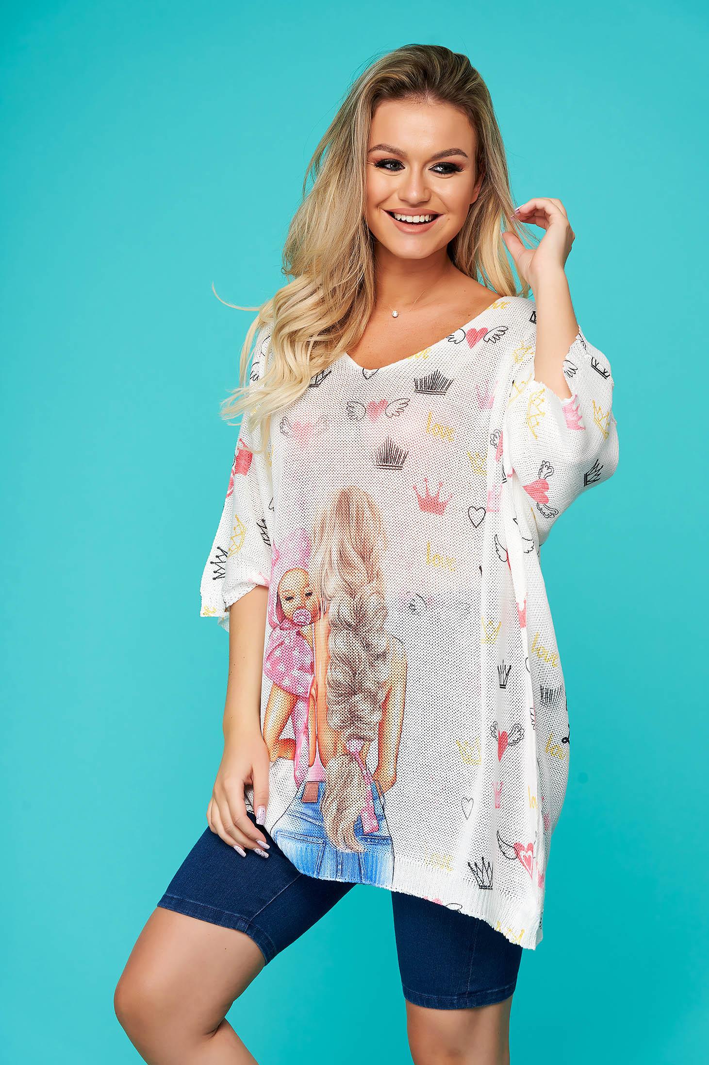 Bluza dama SunShine roz deschis casual lunga cu croi larg cu decolteu in v din material tricotat
