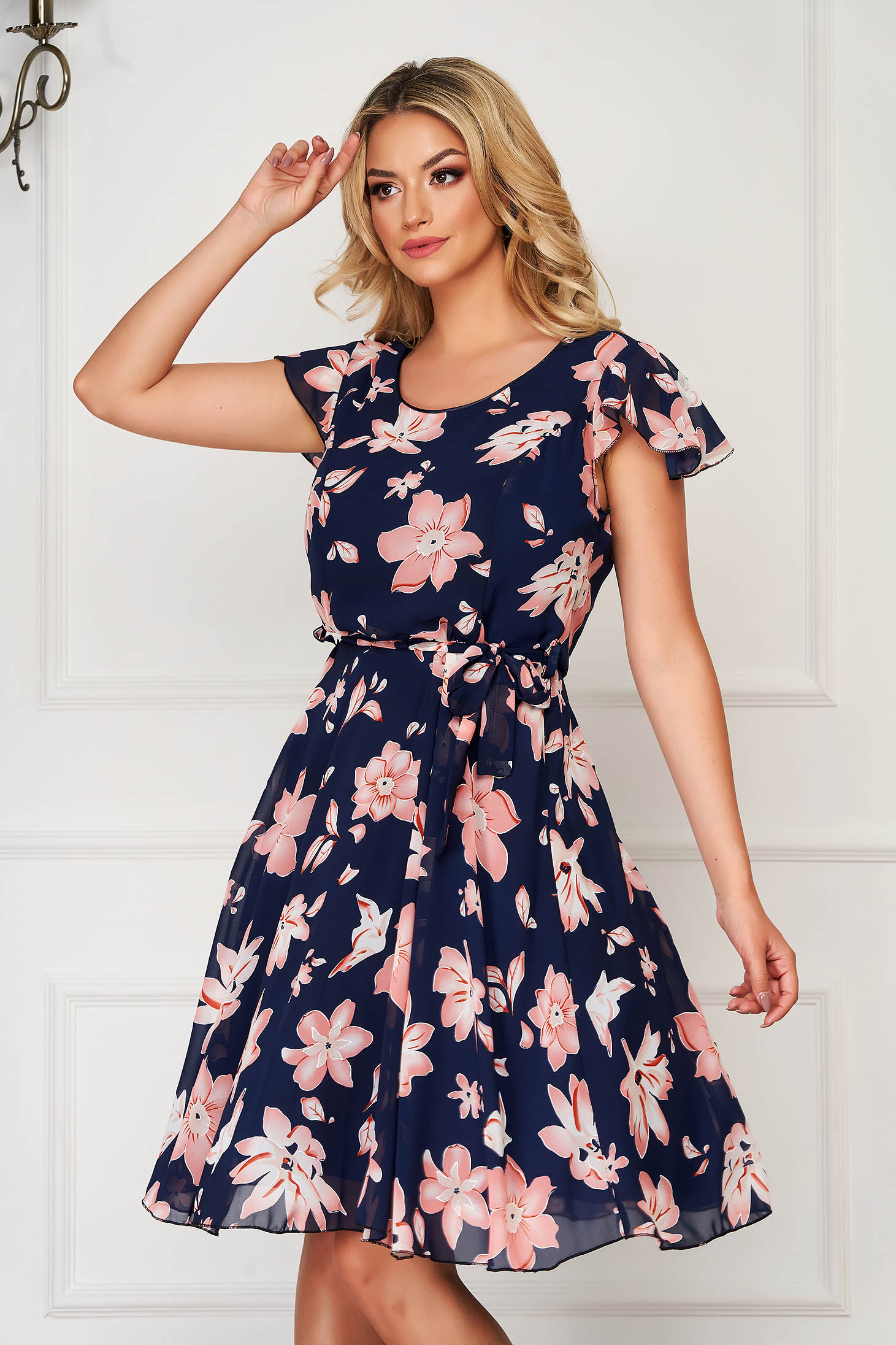 Darkblue dress elegant daily cloche accessorized with tied waistband from veil fabric with floral print