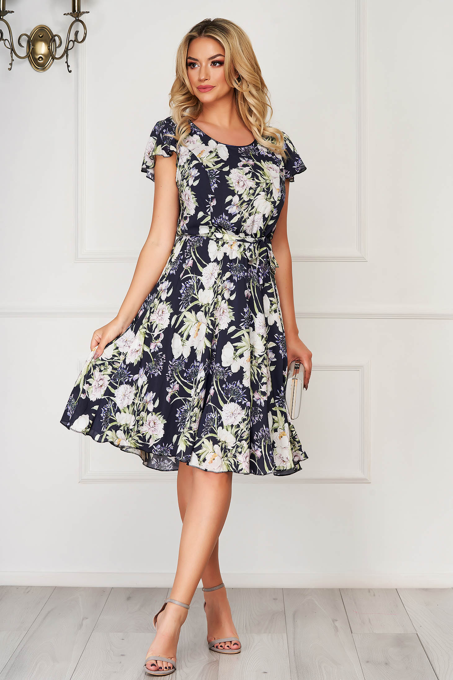 Darkblue dress elegant daily midi cloche thin fabric with floral print accessorized with tied waistband