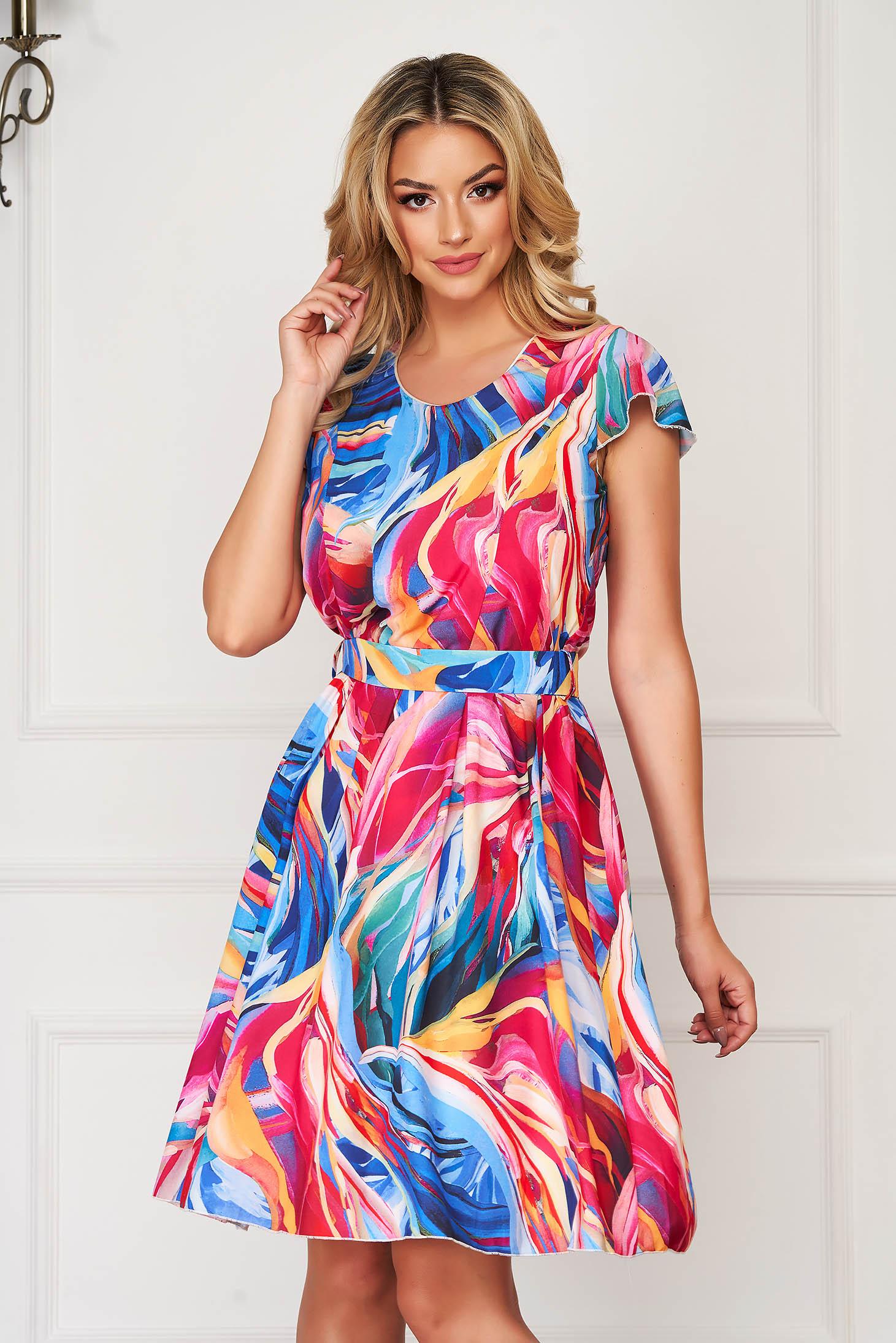 Pink elegáns hétköznapi harang ruha vékony anyagból övvel ellátva