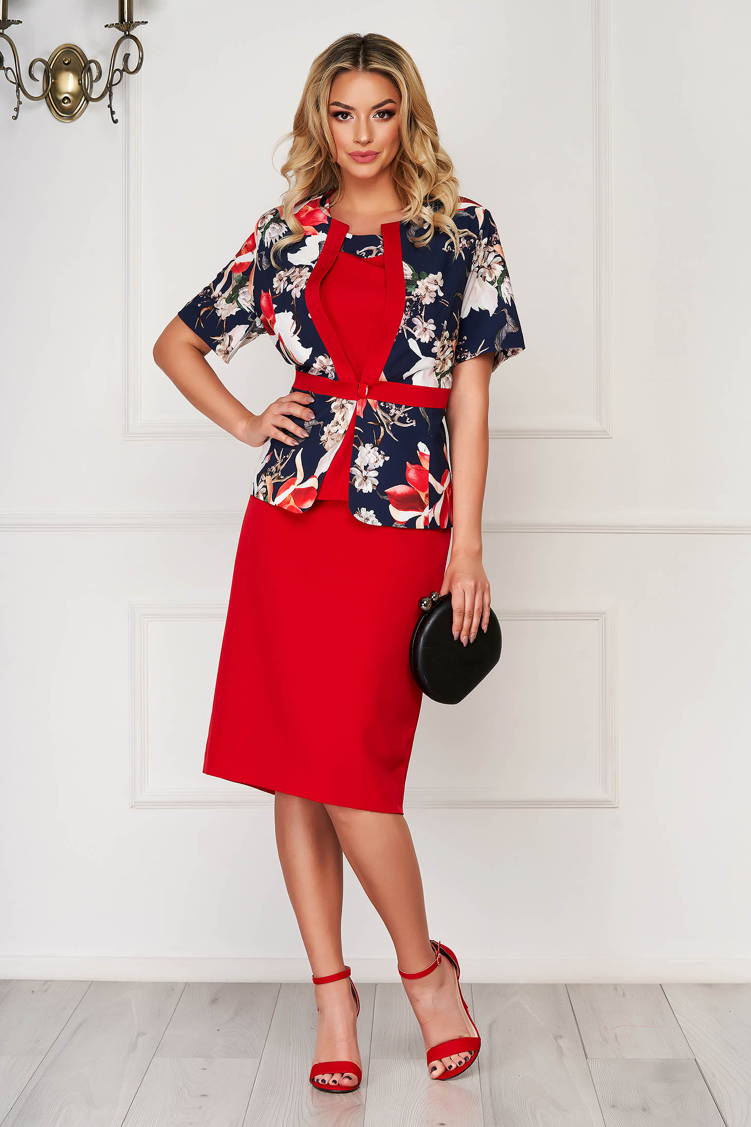 Red lady set elegant with a skirt from non elastic fabric women`s blazer