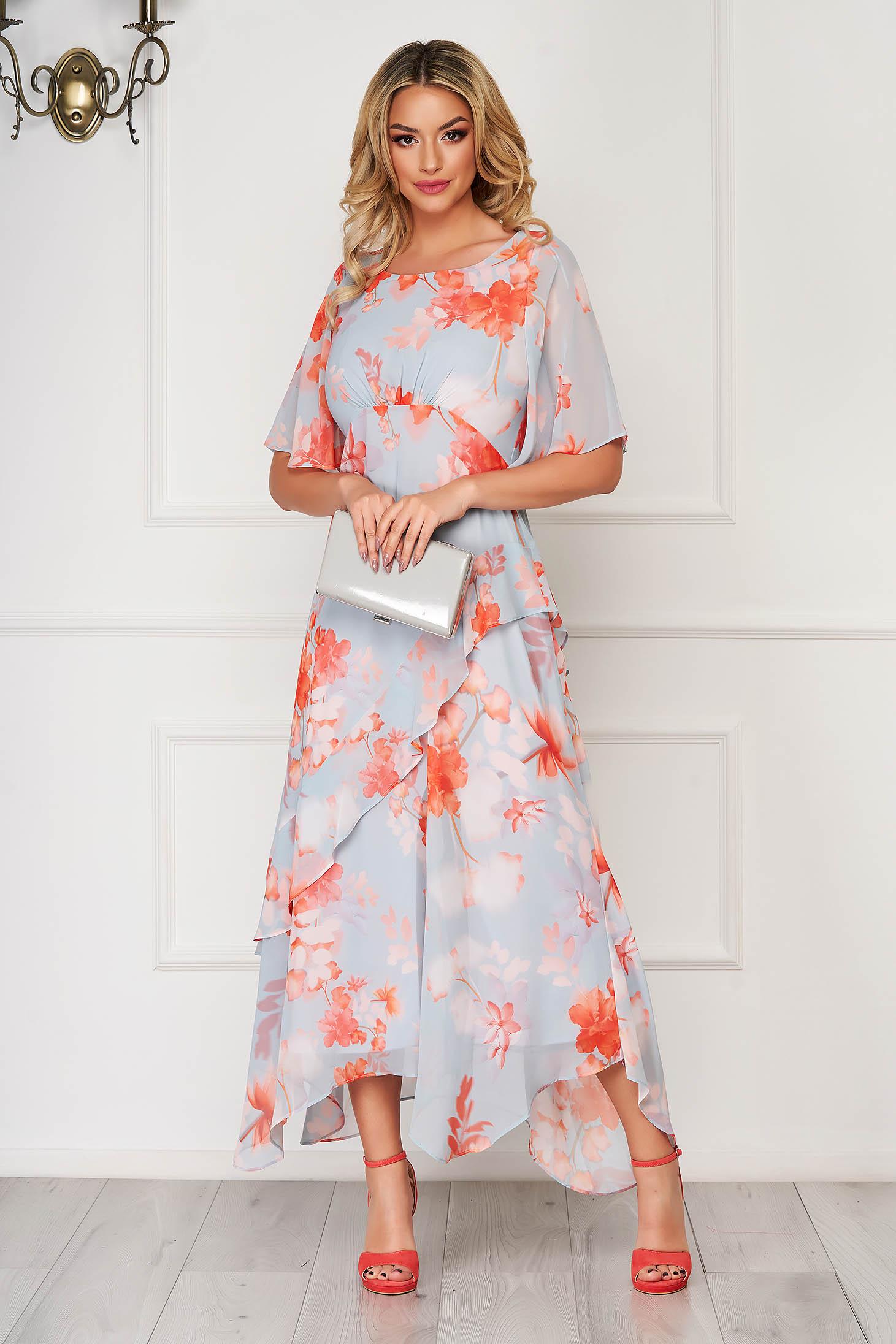 Aqua dress daily elegant asymmetrical cloche voile fabric with floral print