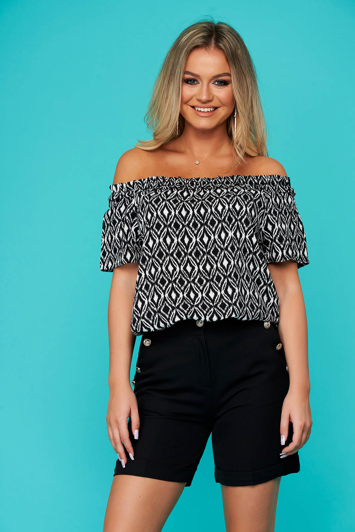 Black women`s blouse casual flared airy fabric naked shoulders