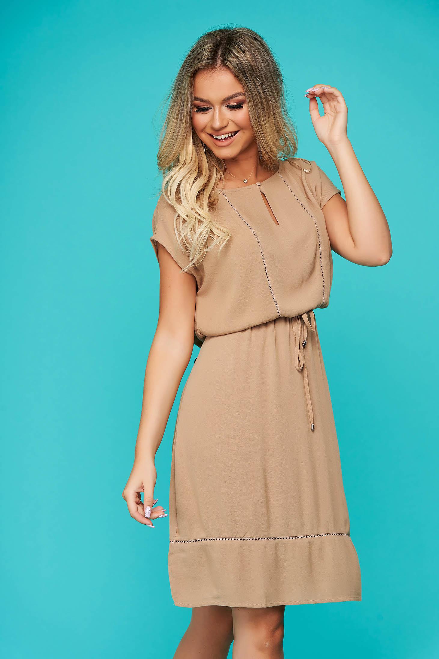 Peach dress daily midi cloche with elastic waist airy fabric