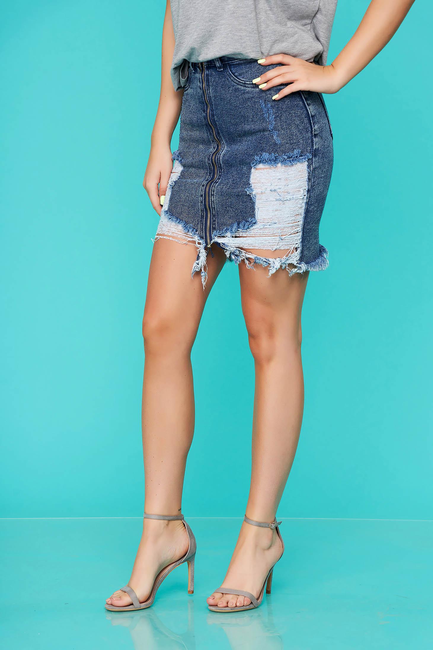 Blue skirt short cut denim ripped