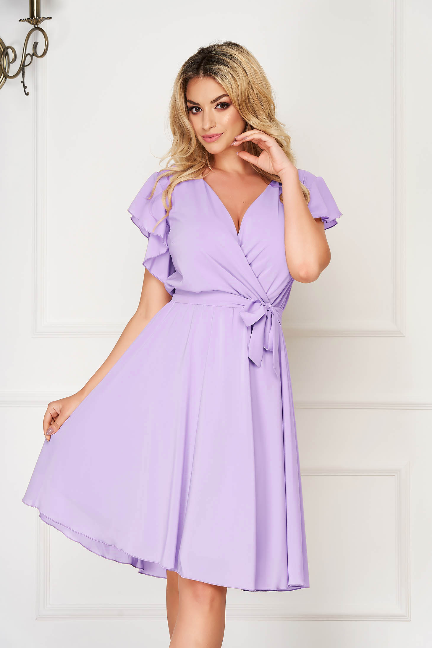 StarShinerS lila dress elegant midi from veil fabric with deep cleavage