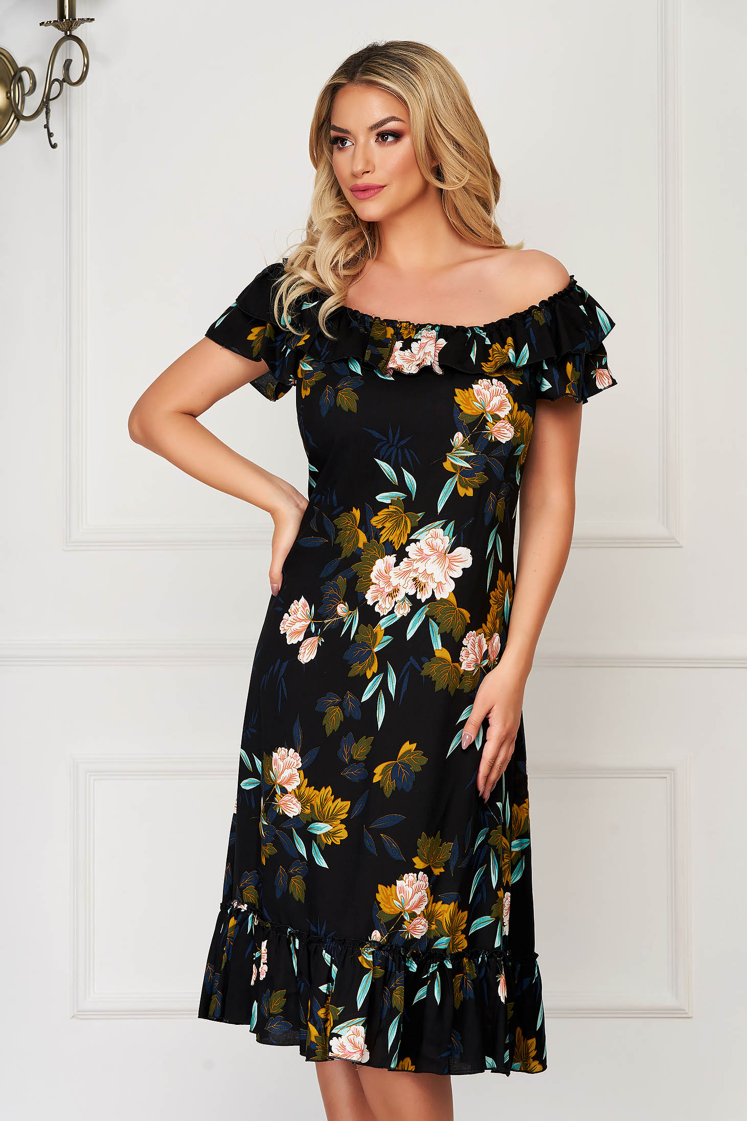 StarShinerS black dress midi daily flared airy fabric naked shoulders
