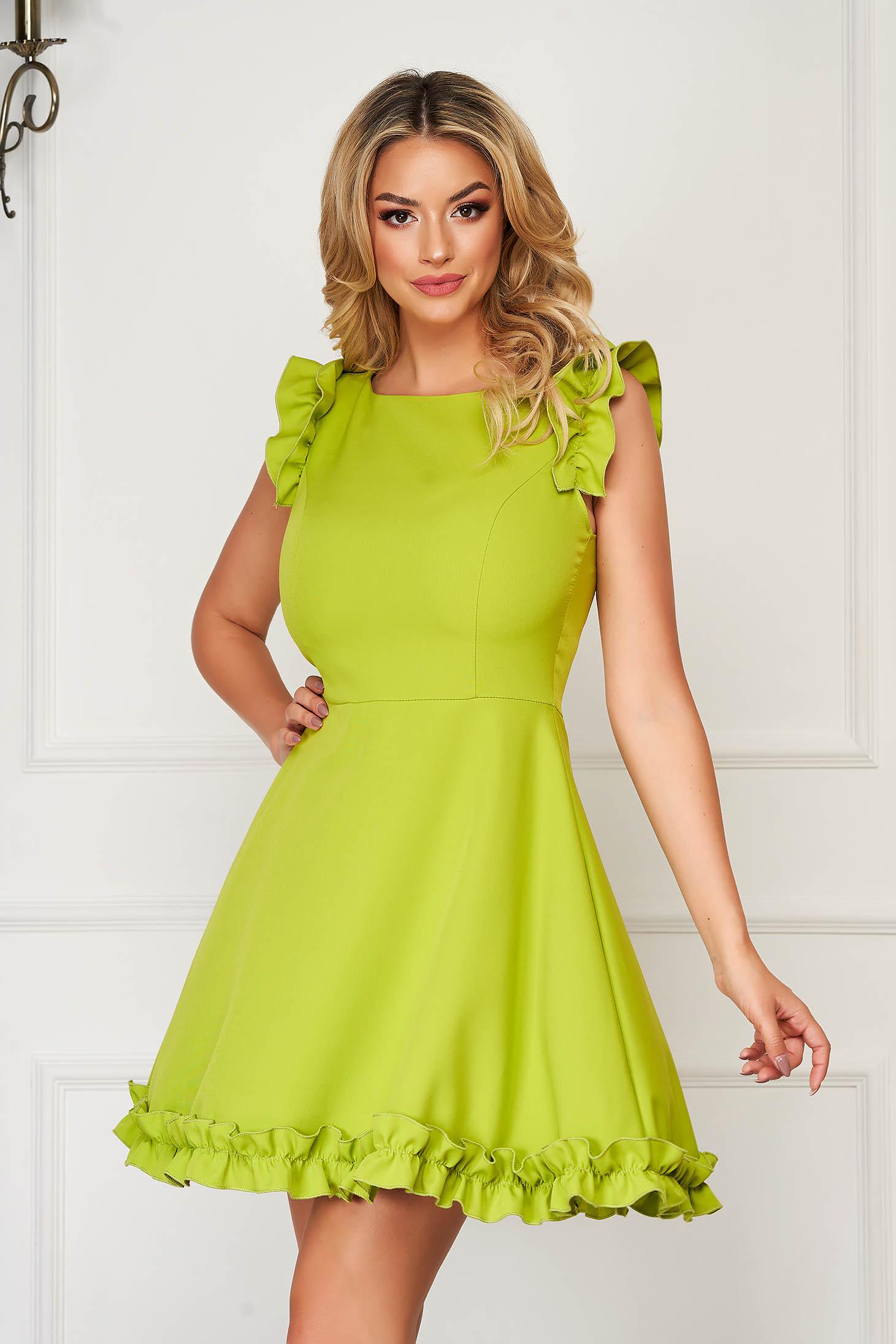 StarShinerS green dress elegant short cut cloth with ruffled sleeves
