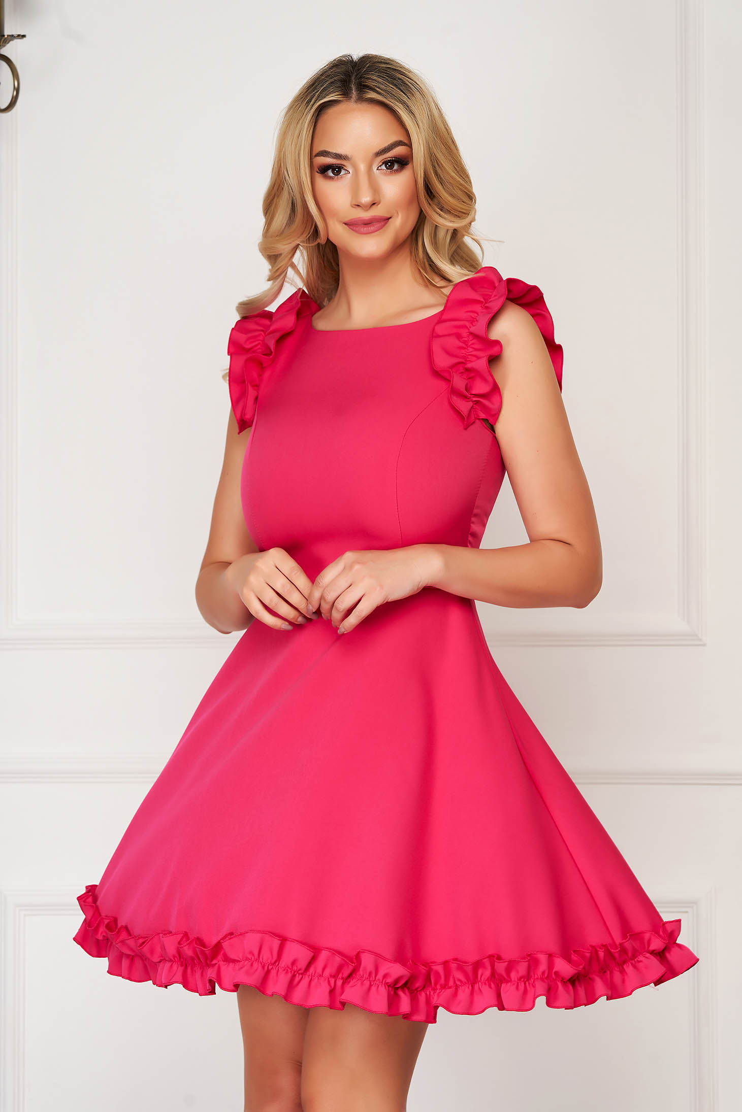StarShinerS fuchsia dress elegant short cut cloth with ruffled sleeves