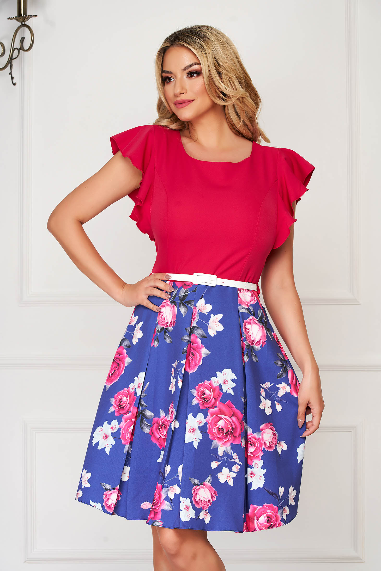 StarShinerS fuchsia dress elegant midi cloche with ruffled sleeves thin fabric