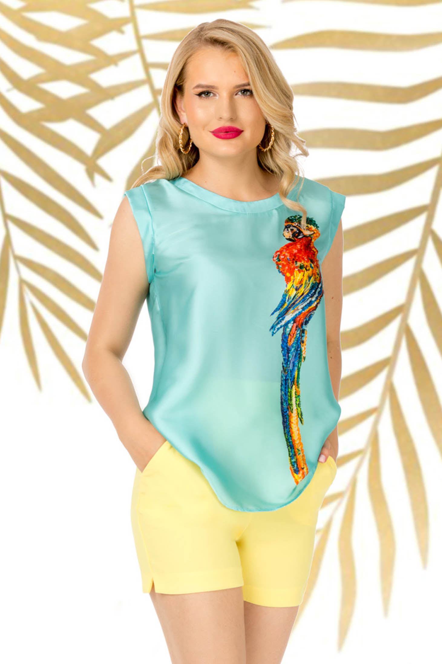 Turquoise top shirt casual flared thin fabric with graphic details