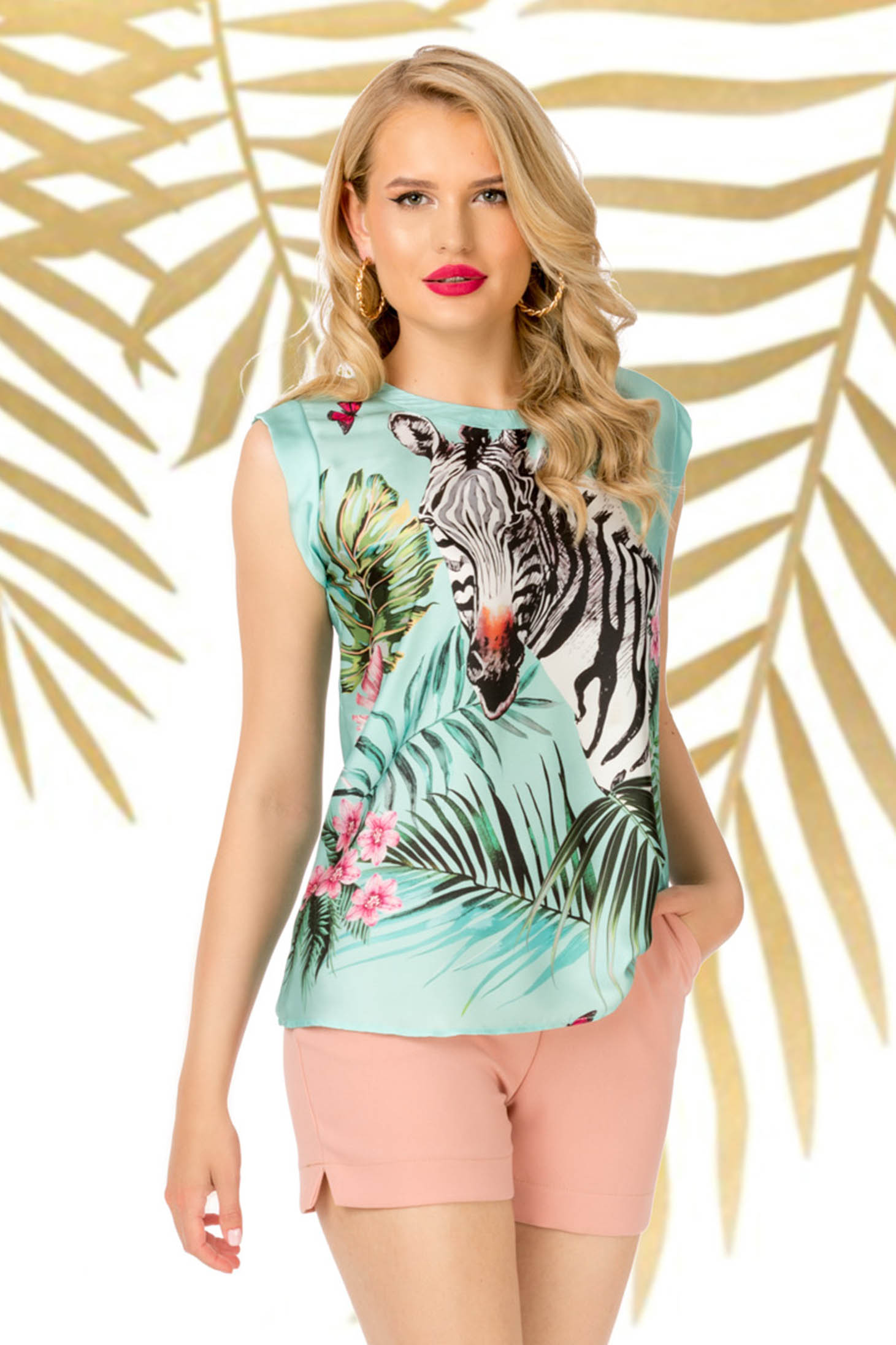 Mint top shirt casual flared thin fabric with graphic details