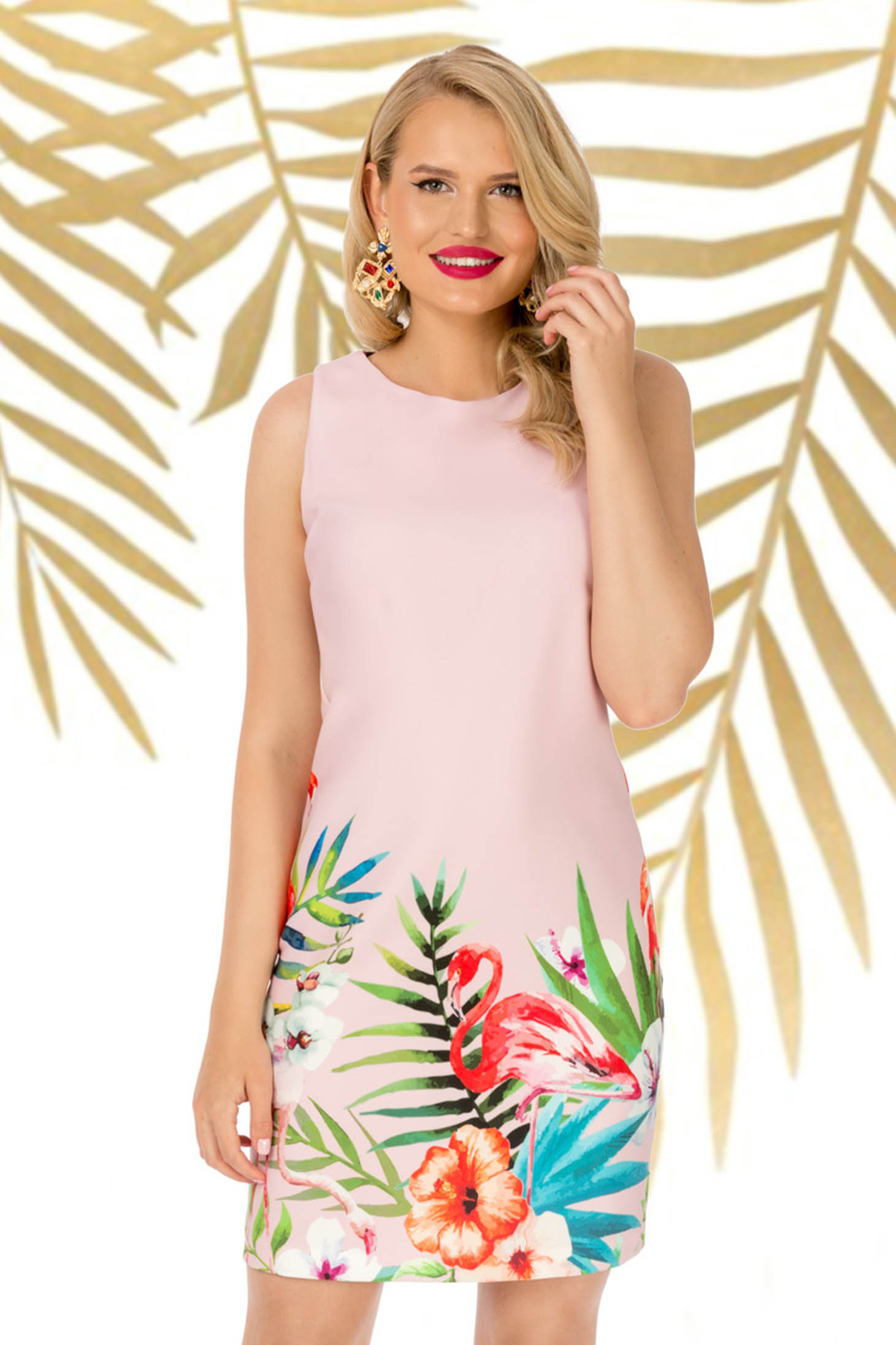 Dress daily lightpink sleeveless straight slightly elastic fabric with floral print
