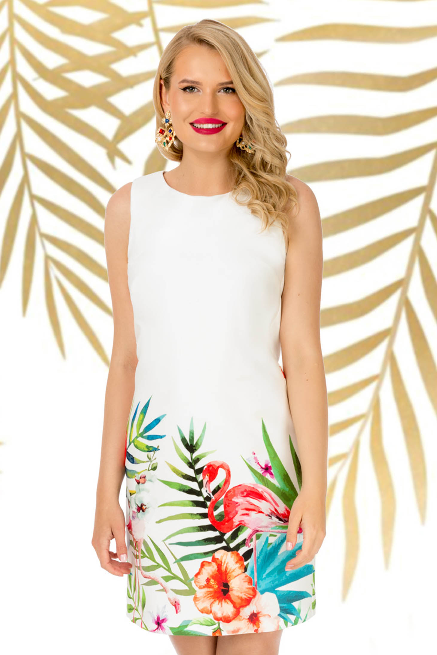Dress daily white sleeveless straight slightly elastic fabric with floral print