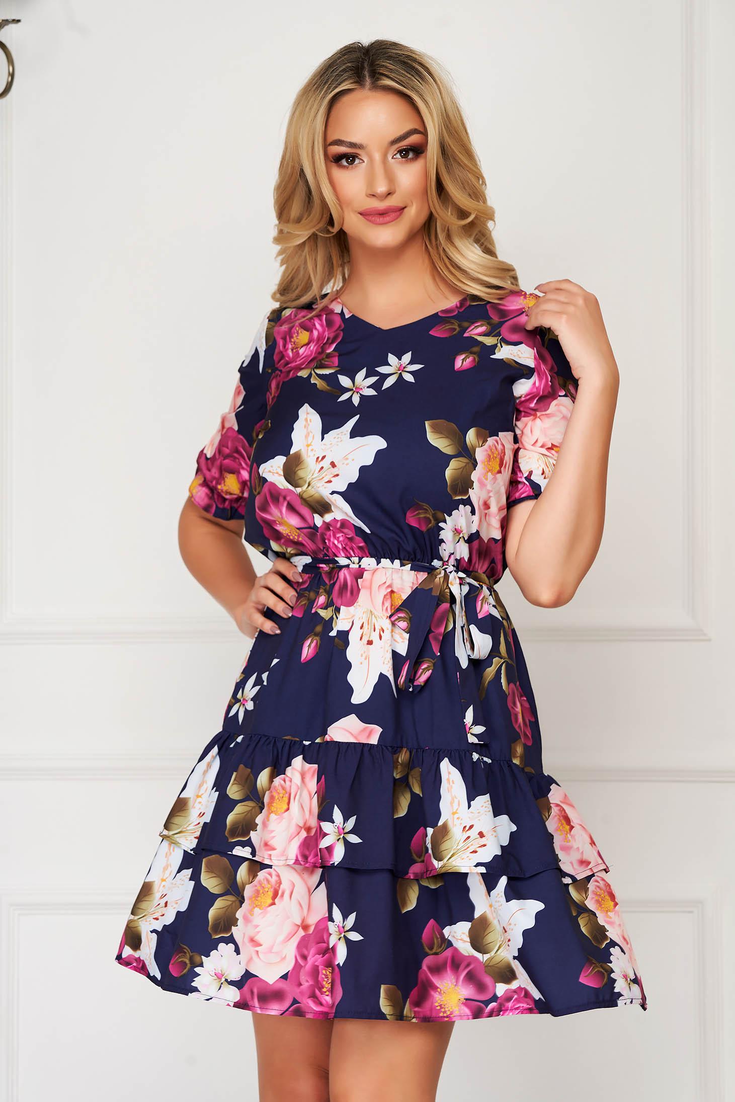 StarShinerS darkblue dress short cut daily thin fabric short sleeves