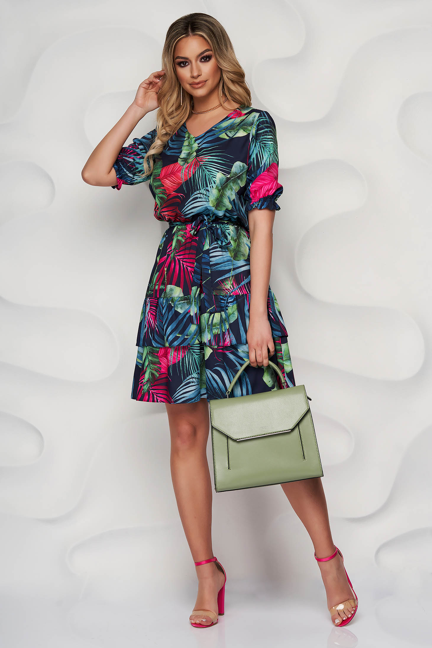 StarShinerS darkblue dress short cut daily with ruffles at the buttom of the dress with floral prints