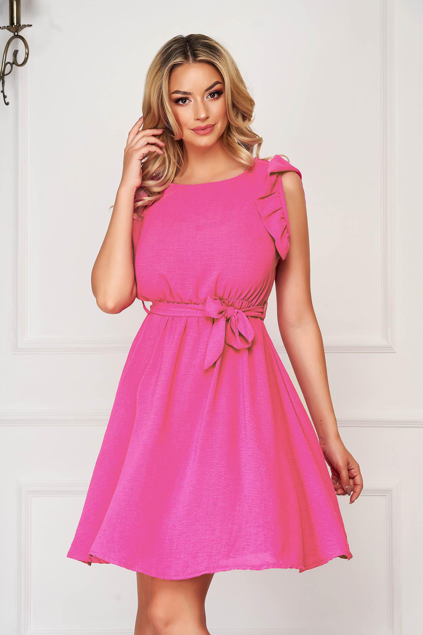 Fuchsia dress daily short cut sleeveless thin fabric