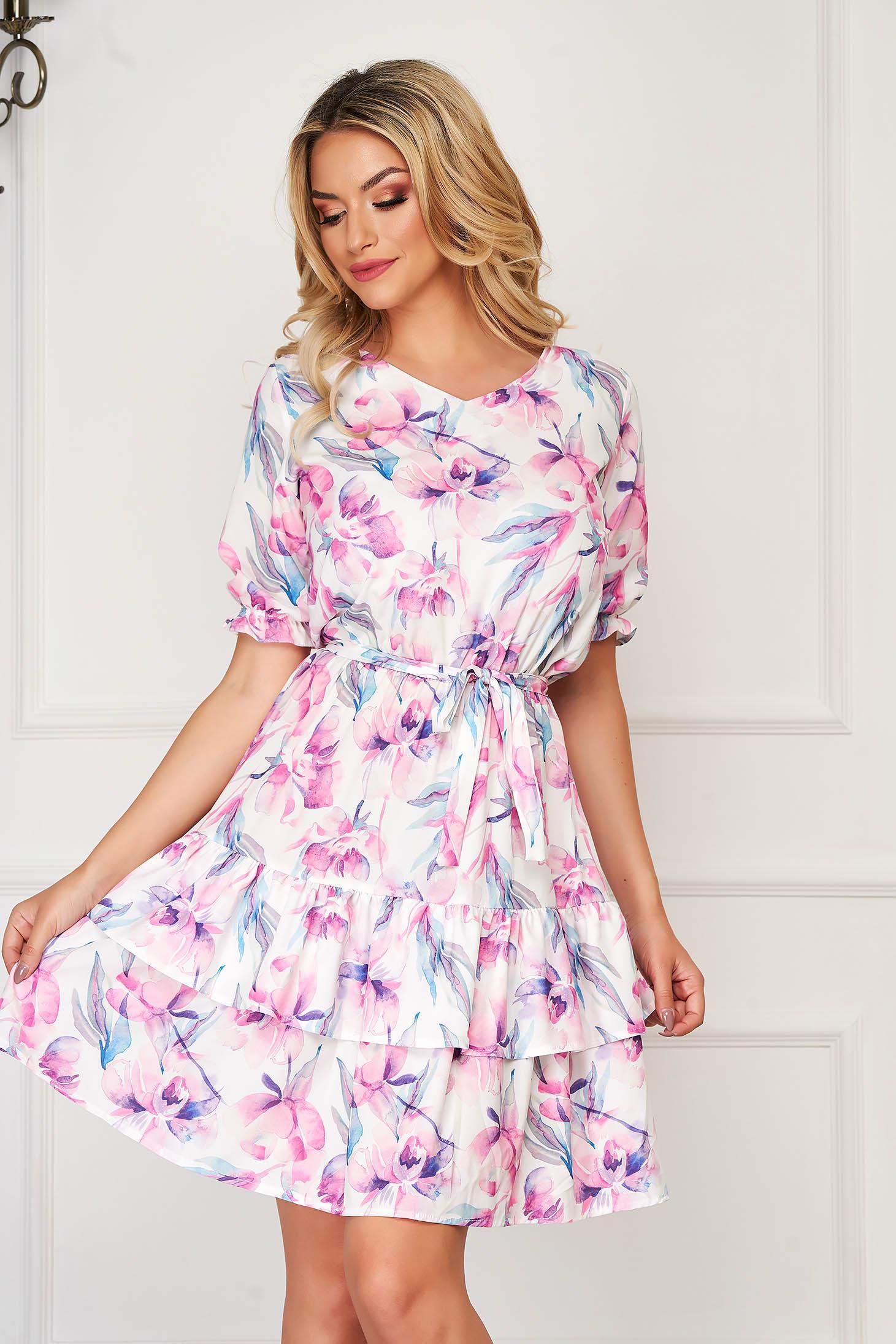Világos rózsaszínű StarShinerS hétköznapi rövid harang ruha virágmintás vékony anyag
